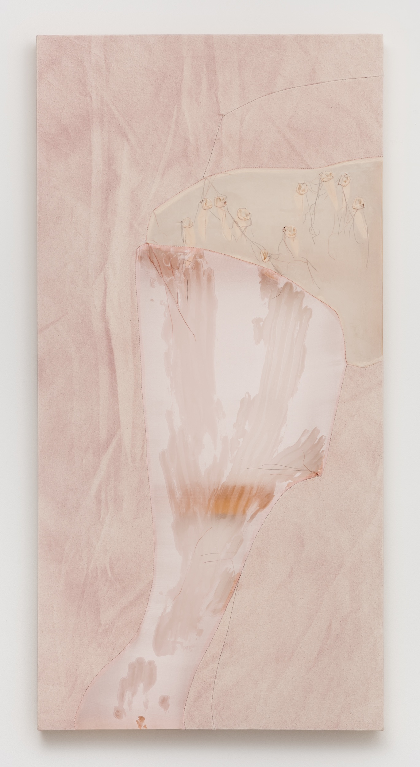 Erica Mahinay   Solitude , 2018  Acrylic on canvas and fabric  48 x 24 inches