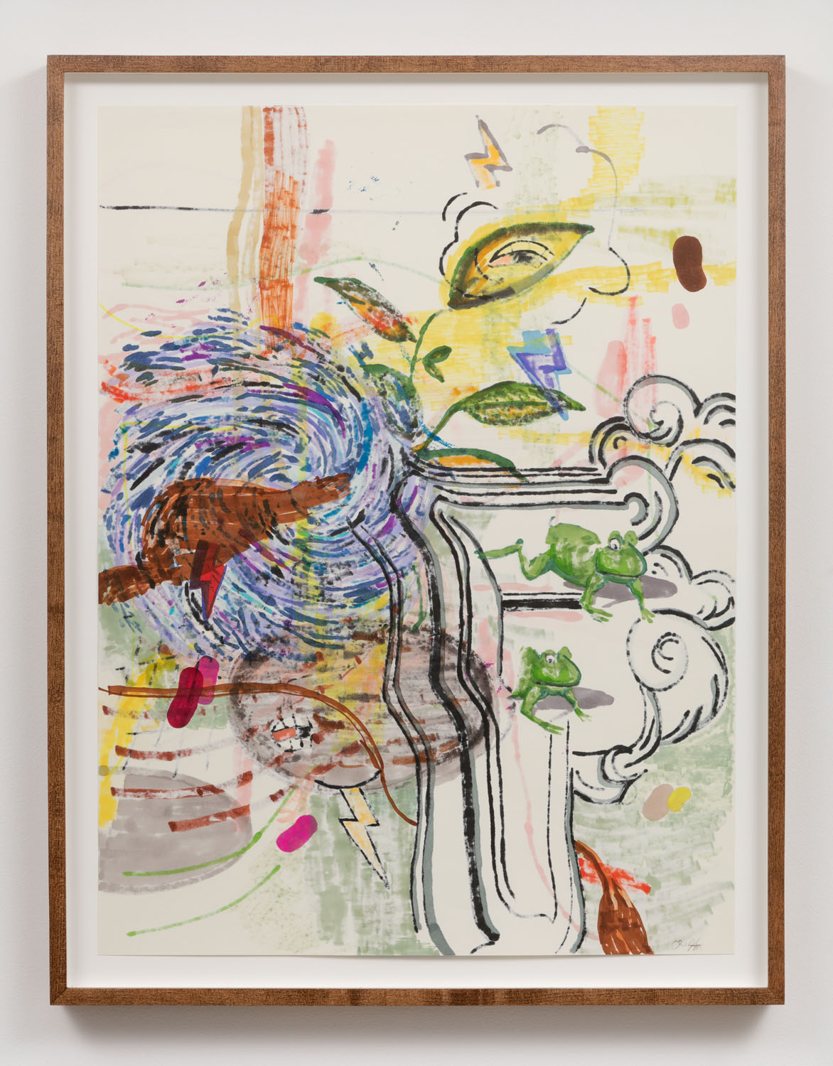 Chris Hood   Untitled (Refraction Drawing 7) , 2018  Ink and markers on Canson classic cream  24 x 18 inches (framed)