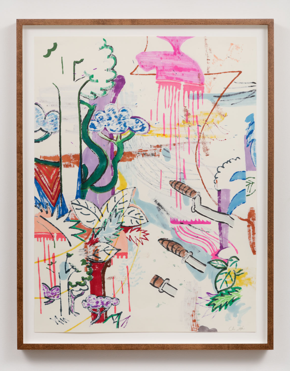Chris Hood   Untitled (Refraction Drawing 3) , 2018  Ink and markers on Canson classic cream  24 x 18 inches (framed)