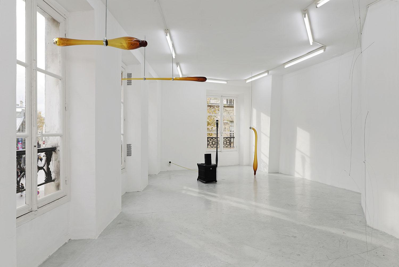 Jo-ey Tang,  Black door code 31A5 à gauche puis 2ème étage tout droit à gauche,  Installation view at Galerie Joseph Tang (two-person exhibition with Carlos Reyes), Paris, FR, November 20 - December 10, 2016