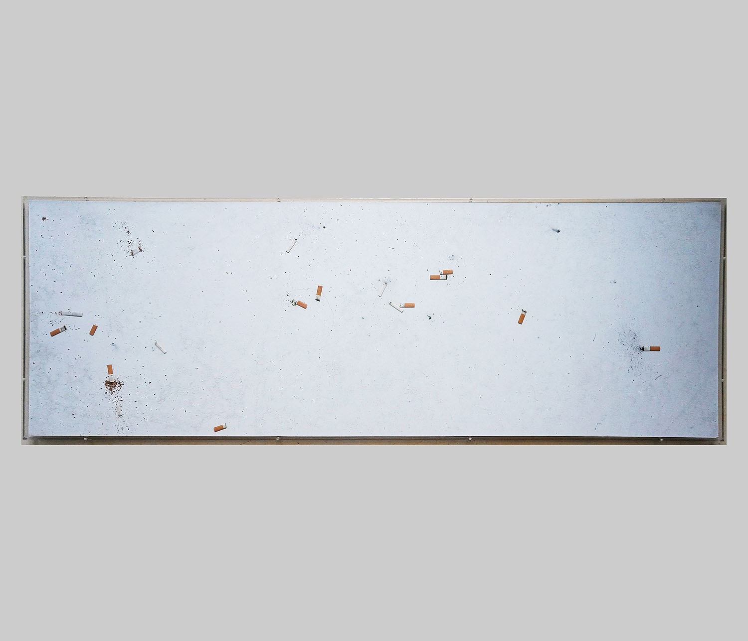 Jo-ey Tang   Documents from Like An Intruder, The Speaker Removes His Cap,  2014  Cigarette butts on adhesive on wood panels and plexi frames  68.90 x 23.62 in / 175 x 60 cm