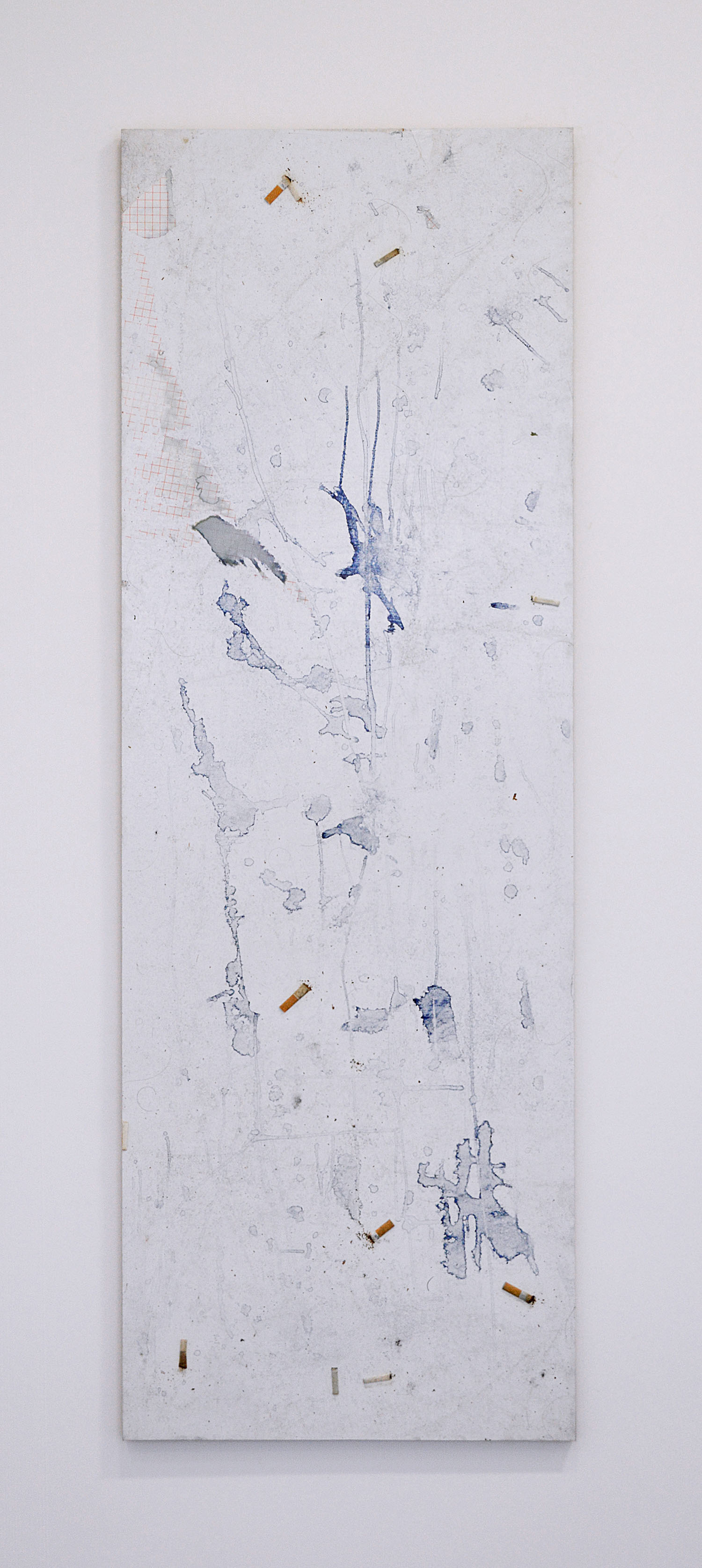 Jo-ey Tang   Document from Like An Intruder, The Speaker Removes His Cap, Patch 1.1,  2015  Adhesive plastic, cigarette butts, butterfly pea flower tea, mounted on aluminum and wood.  68.90 x 23.62 inches