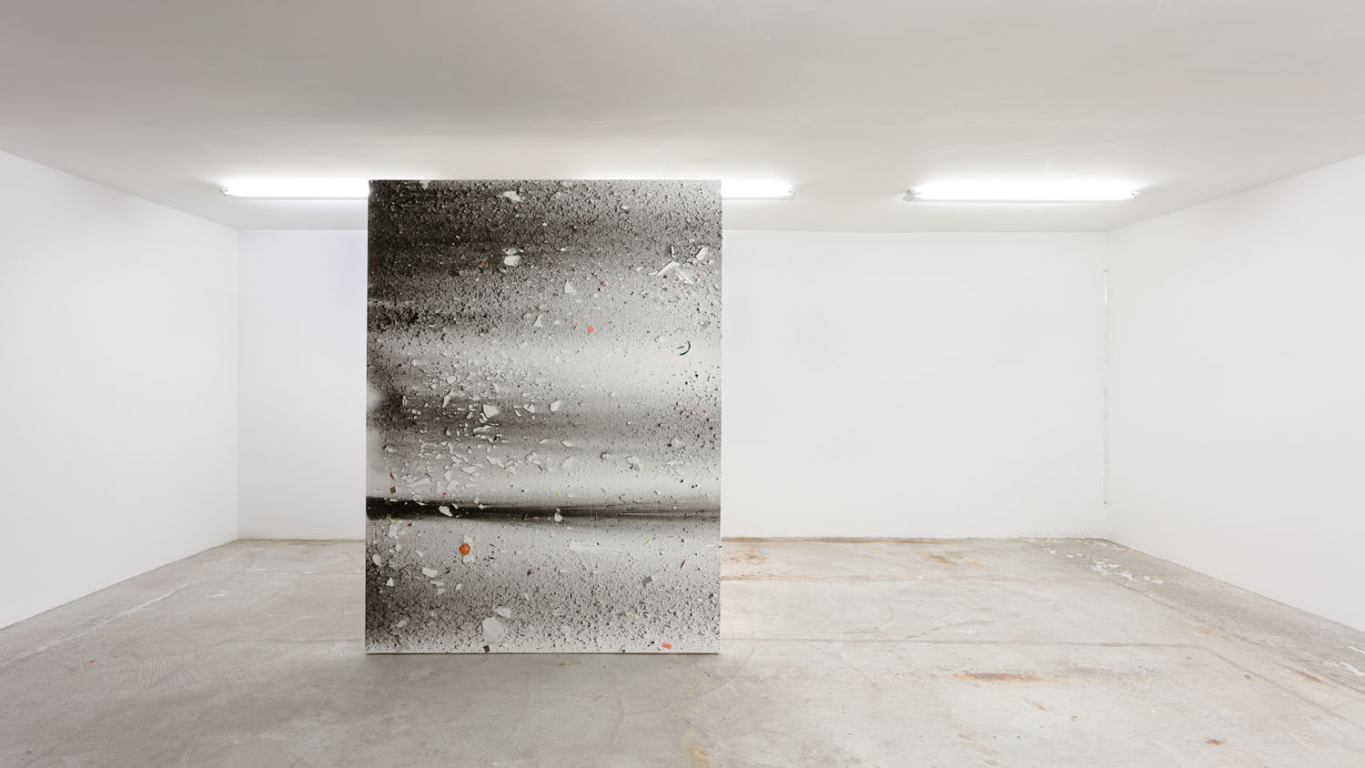 Thomas Fougeirol   Untitled , 2016  Mixed media on canvas  76 x 57 inches    Jo-ey Tang   Bullet Through Glass, Milk Finds Its Form... , 2017  Plexiglass rod, ink on Japanese Sumi-e paper, and screws  65.6 x 0.5 x 0.5 inches  Installation view