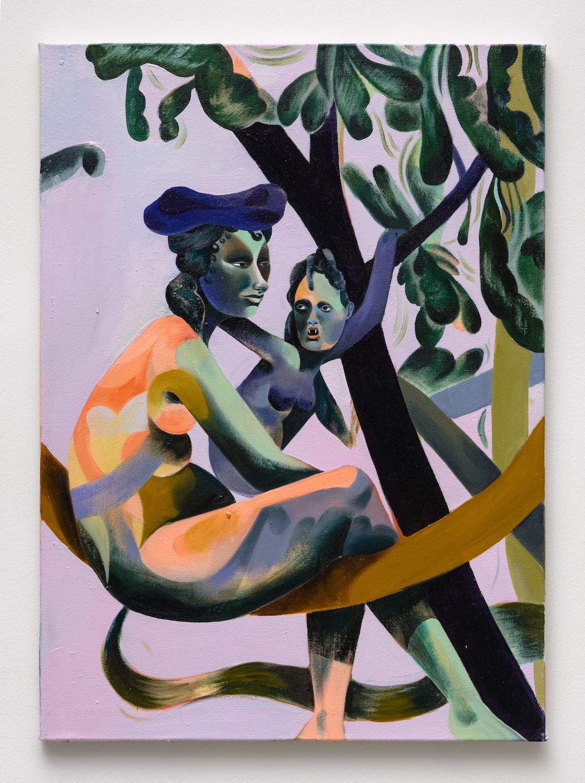 Jessie Makinson   Tender Trick , 2018  Oil on canvas  27.5 x 19.75 inches
