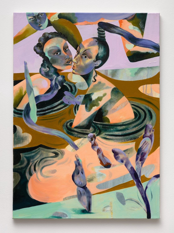 Jessie Makinson   Sudden Peaches , 2018  Oil on canvas  27.5 x 19.75 inches