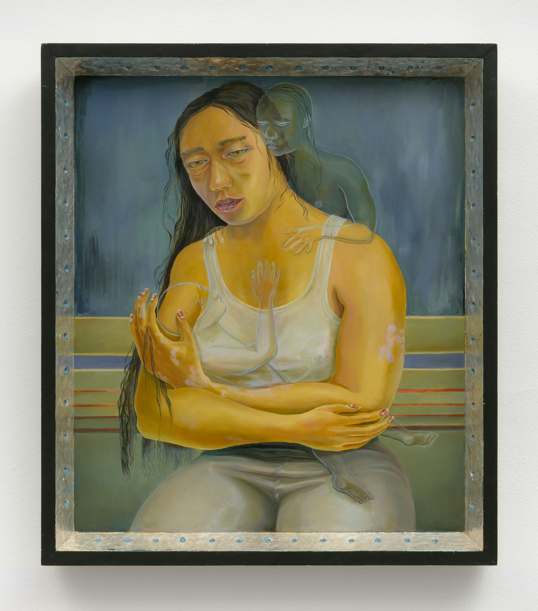 Aaron Gilbert   Untitled (Mother) , 2011  Oil on panel with silver leaf  23.5 x 20.5  1.75 inches