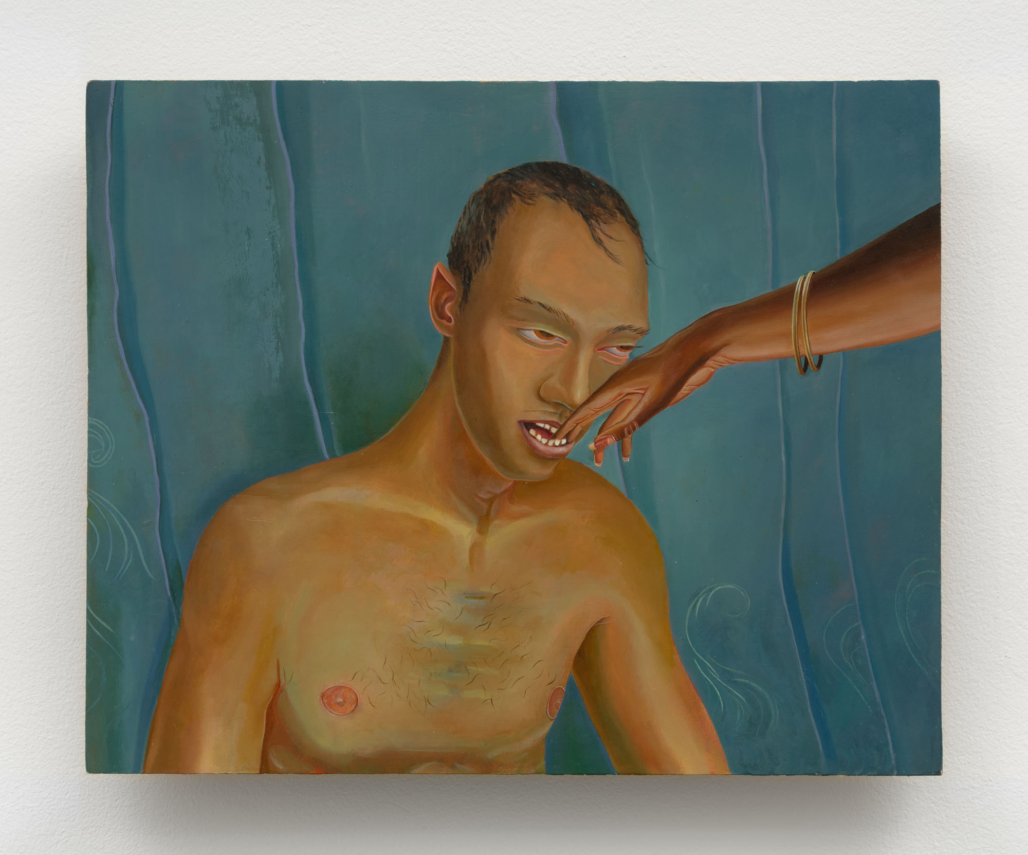 Aaron Gilbert   Teeth , 2010  Oil and Mother of Pearl on panel  13 x 16 inches