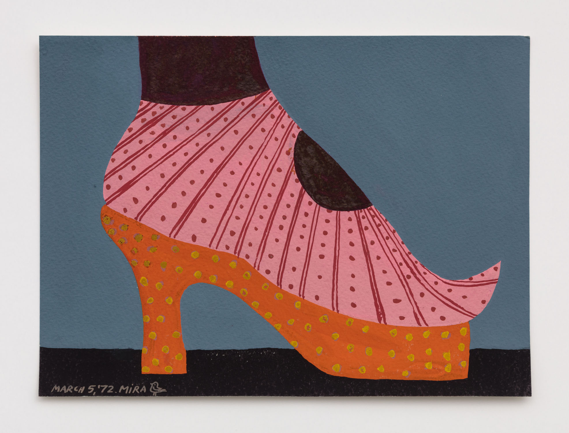 Mira Schor   Shoe , March 5, 1972  Gouache on paper  7 x 8.5 inches