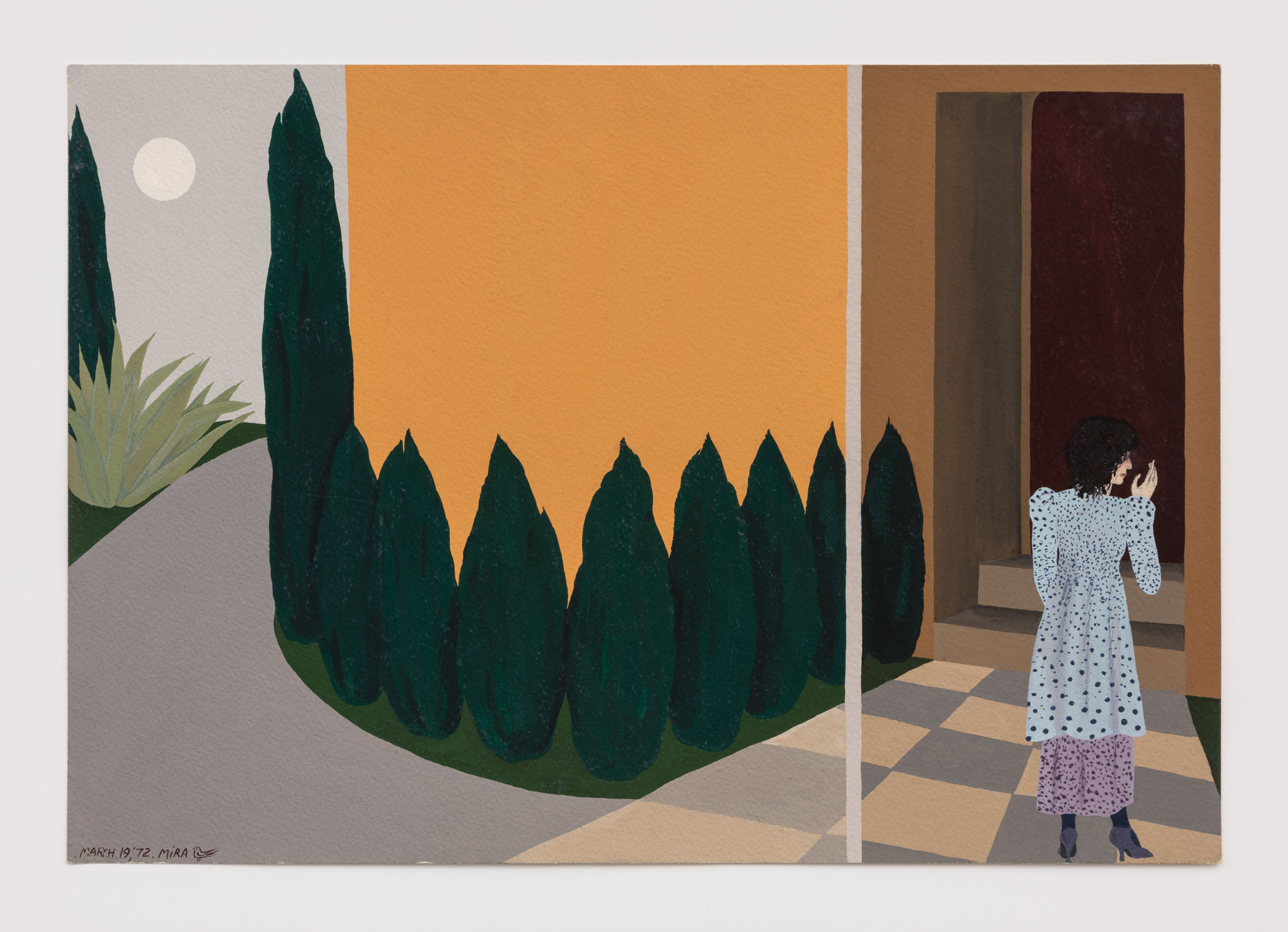 Mira Schor   California , March 19, 1972  Gouache and metallic ink on paper  13.5 x 19.75 inches