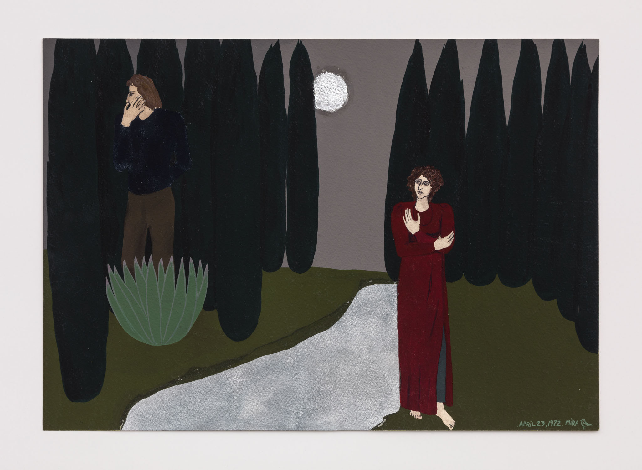 Mira Schor   California Night , April 23, 1972  Gouache on paper  13 x 19.75 inches