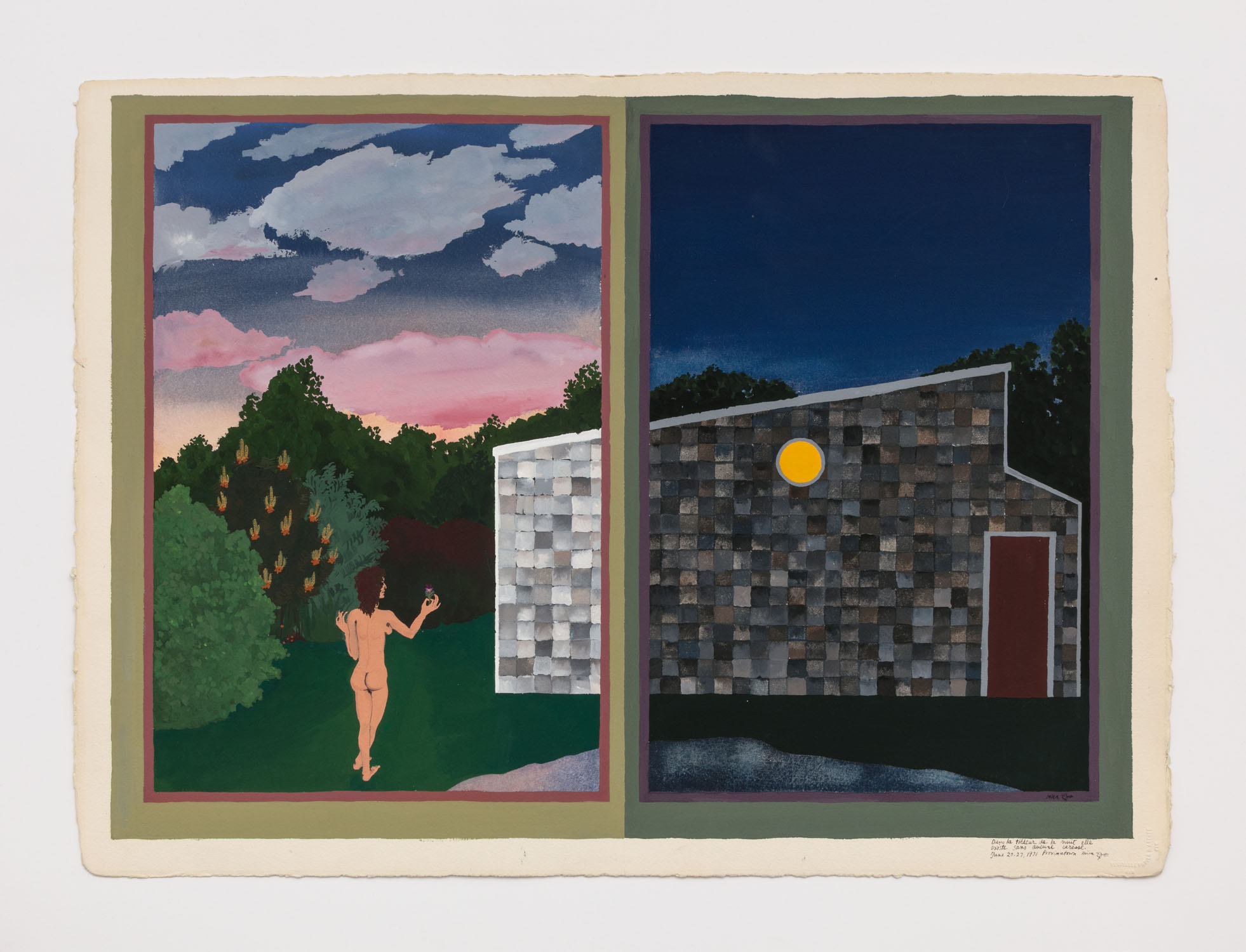 Mira Schor   Dans la tiedeur de la nuit elle existe sans aucune caresse , June 20-27, 1971  Gouache on paper  22.25 x 30.5 inches