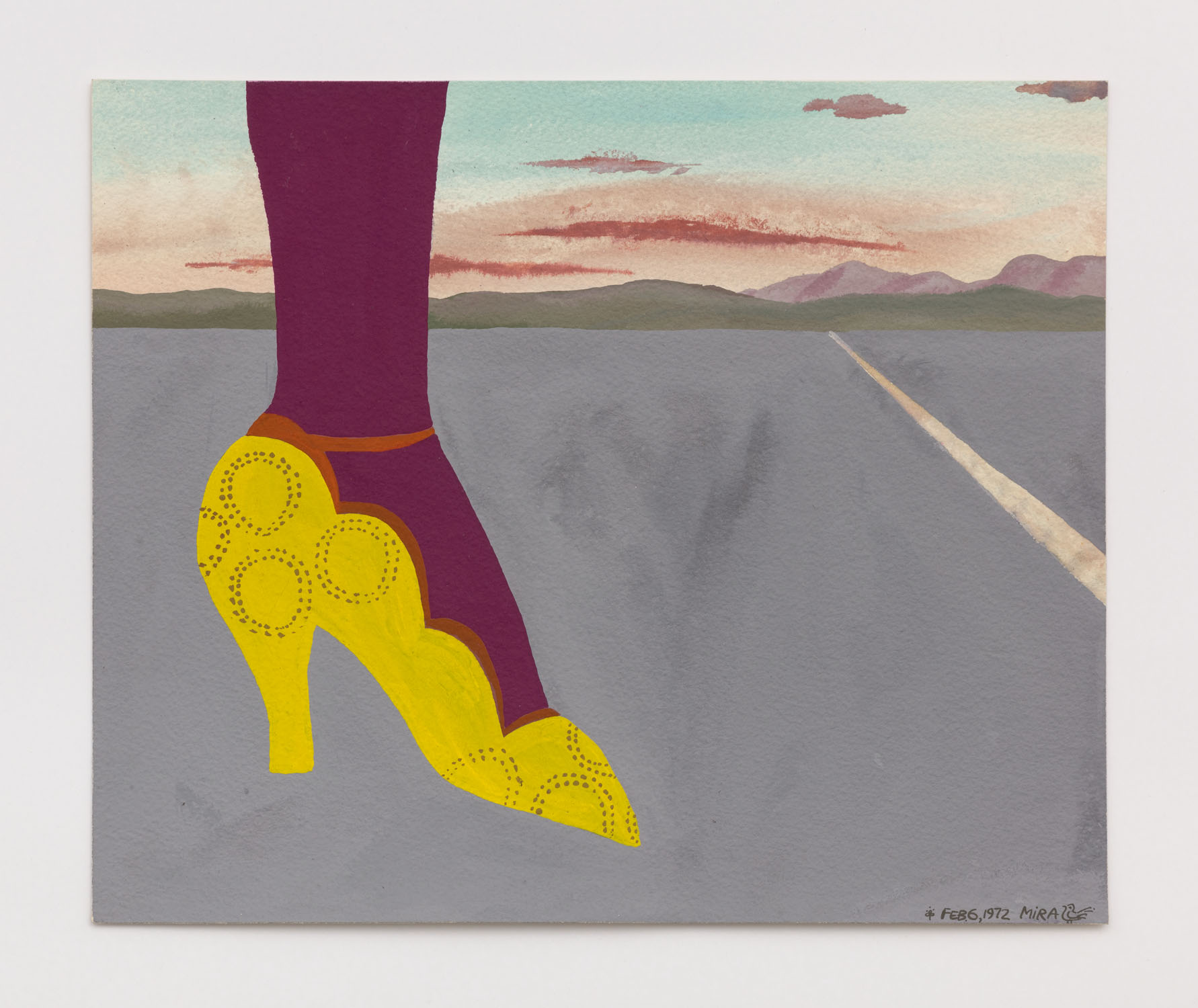 Mira Schor   Yellow Shoe , February 6, 1972  Gouache on paper  11.5 x 13.75 inches