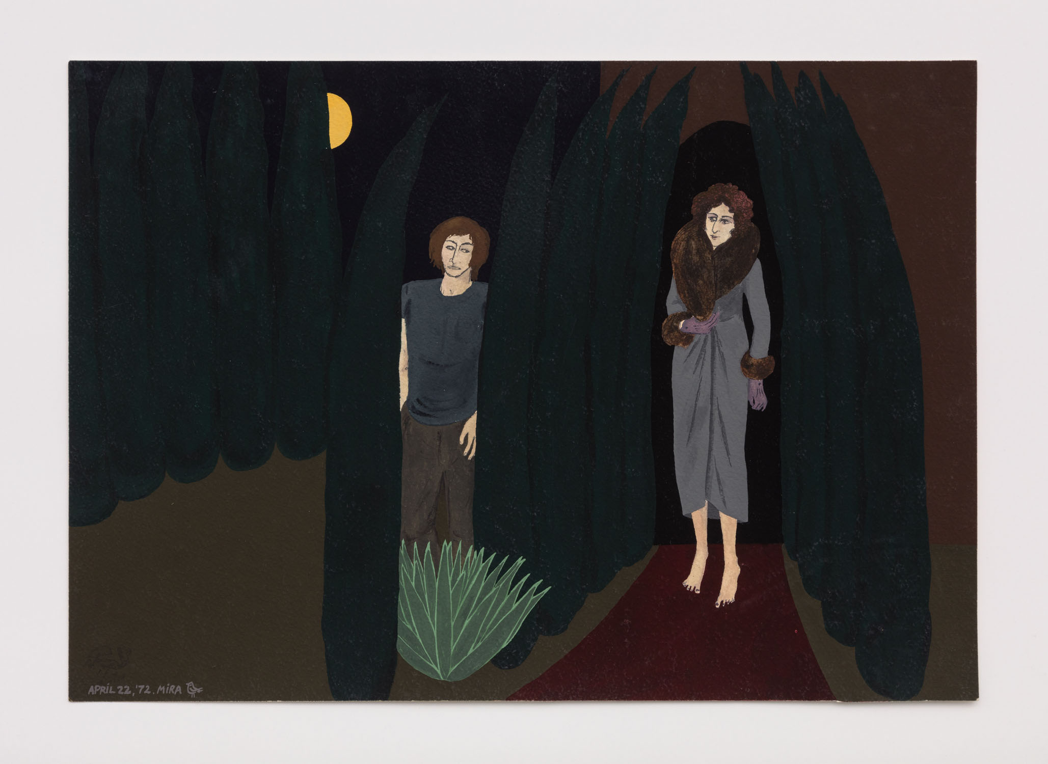 Mira Schor   California Night , April 22, 1972  Gouache on paper  13.75 x 19.75 inches