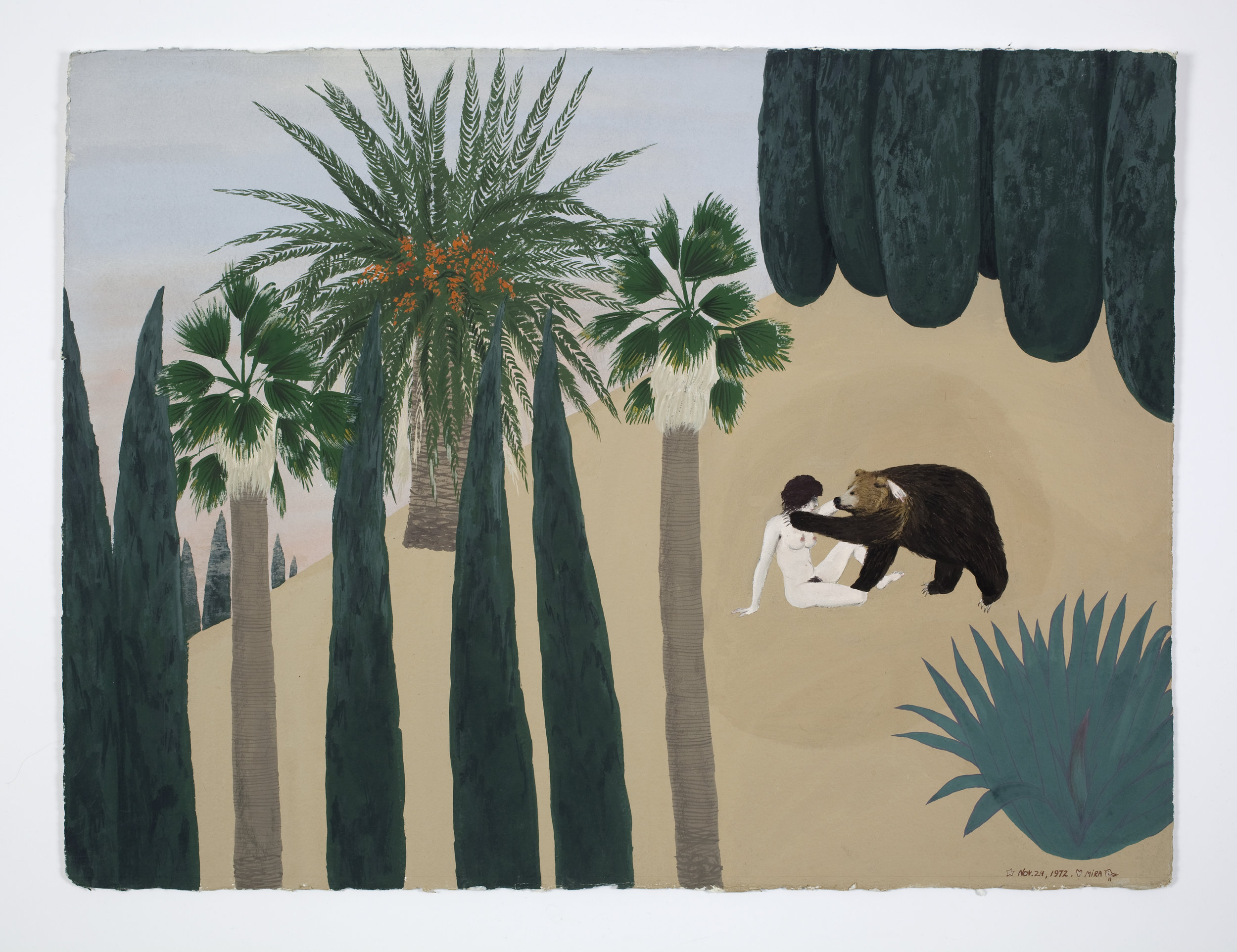 Mira Schor   Bear Triptych (Part I),  November 1972  Gouache on Arches paper  22 x 30 inches