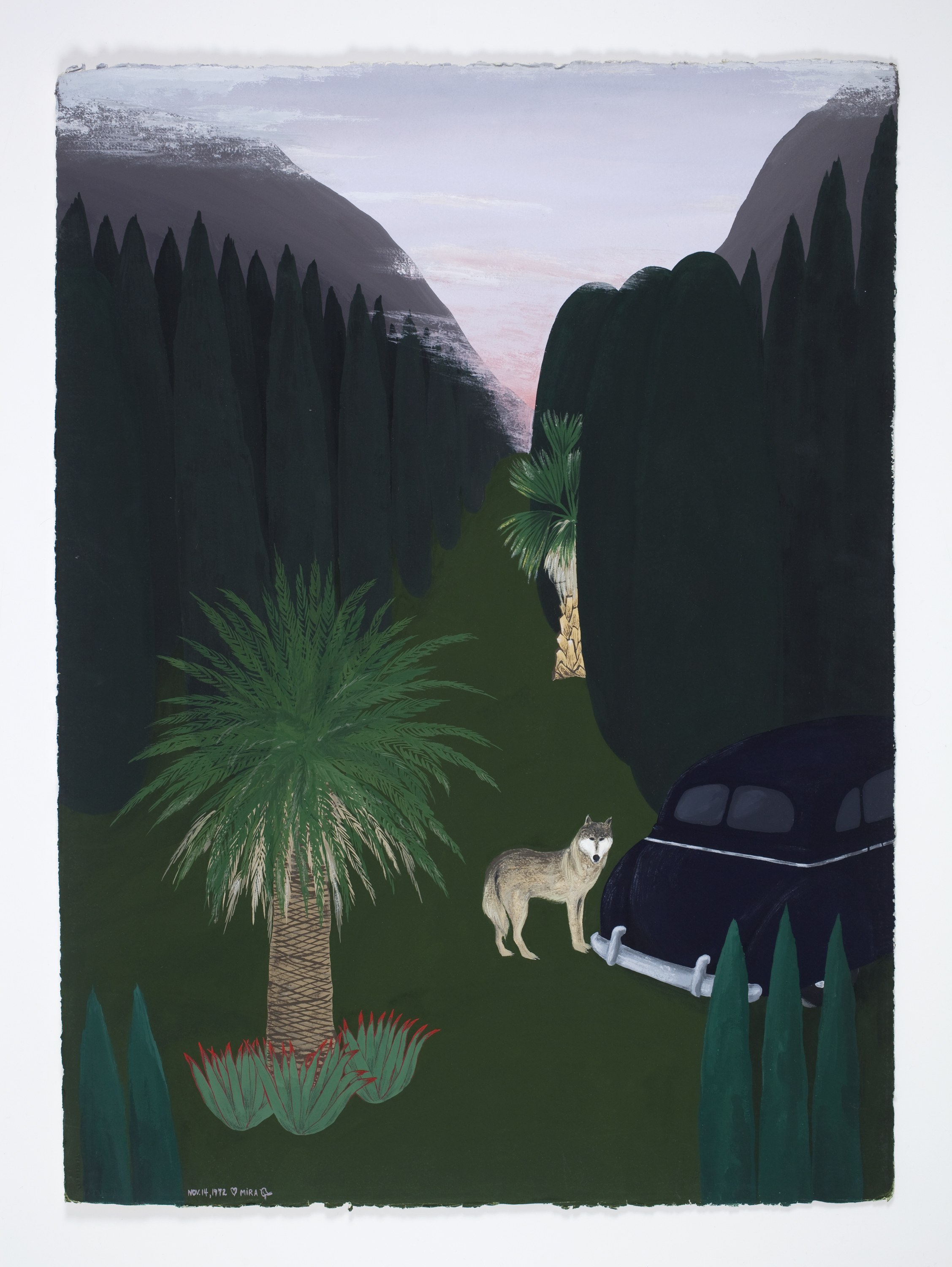 Mira Schor   Car Triptych (Part III) , November 14, 1972  Gouache on Arches paper  30 x 22 inches