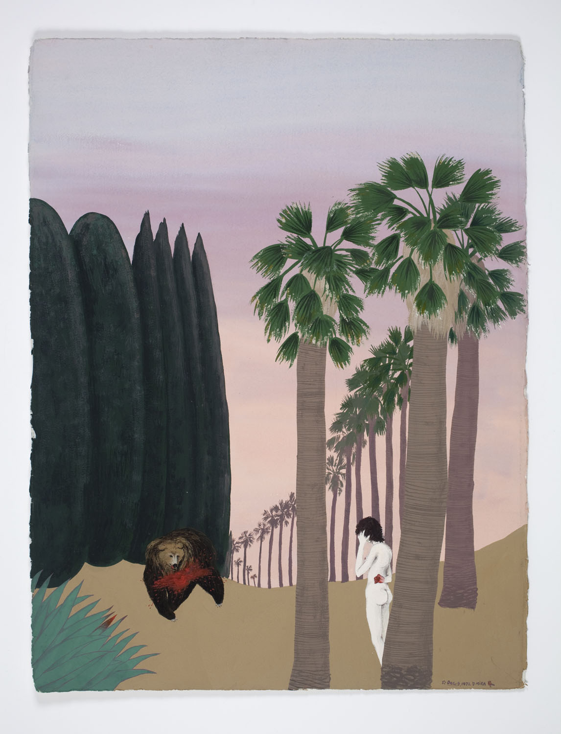 Mira Schor   Bear Triptych (Part II) , December 1972  Gouache on Arches paper  30 x 22 inches