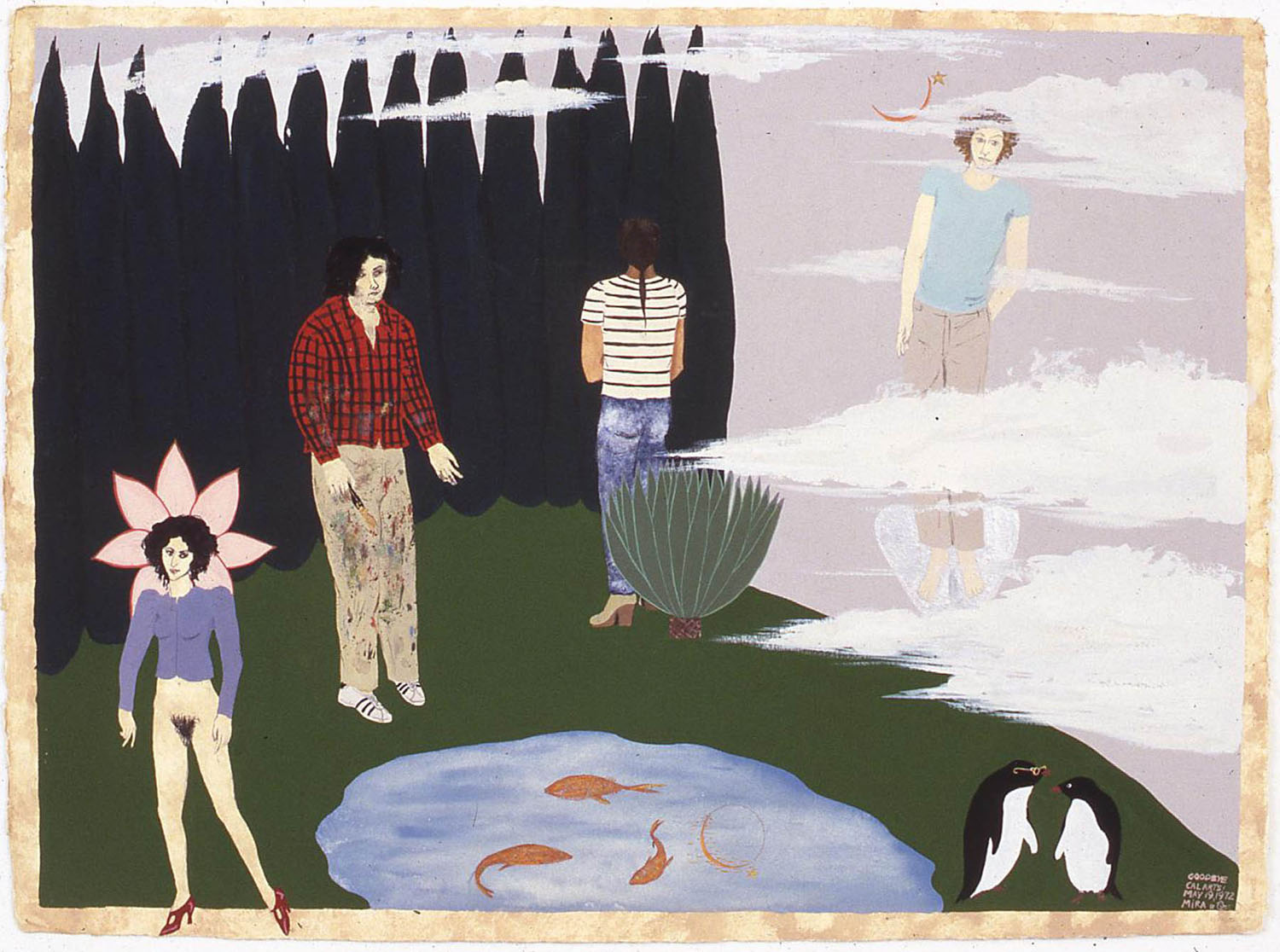 Mira Schor   Goodbye CalArts , May 19, 1972  Gouache on paper  21.5 x 29.5 inches