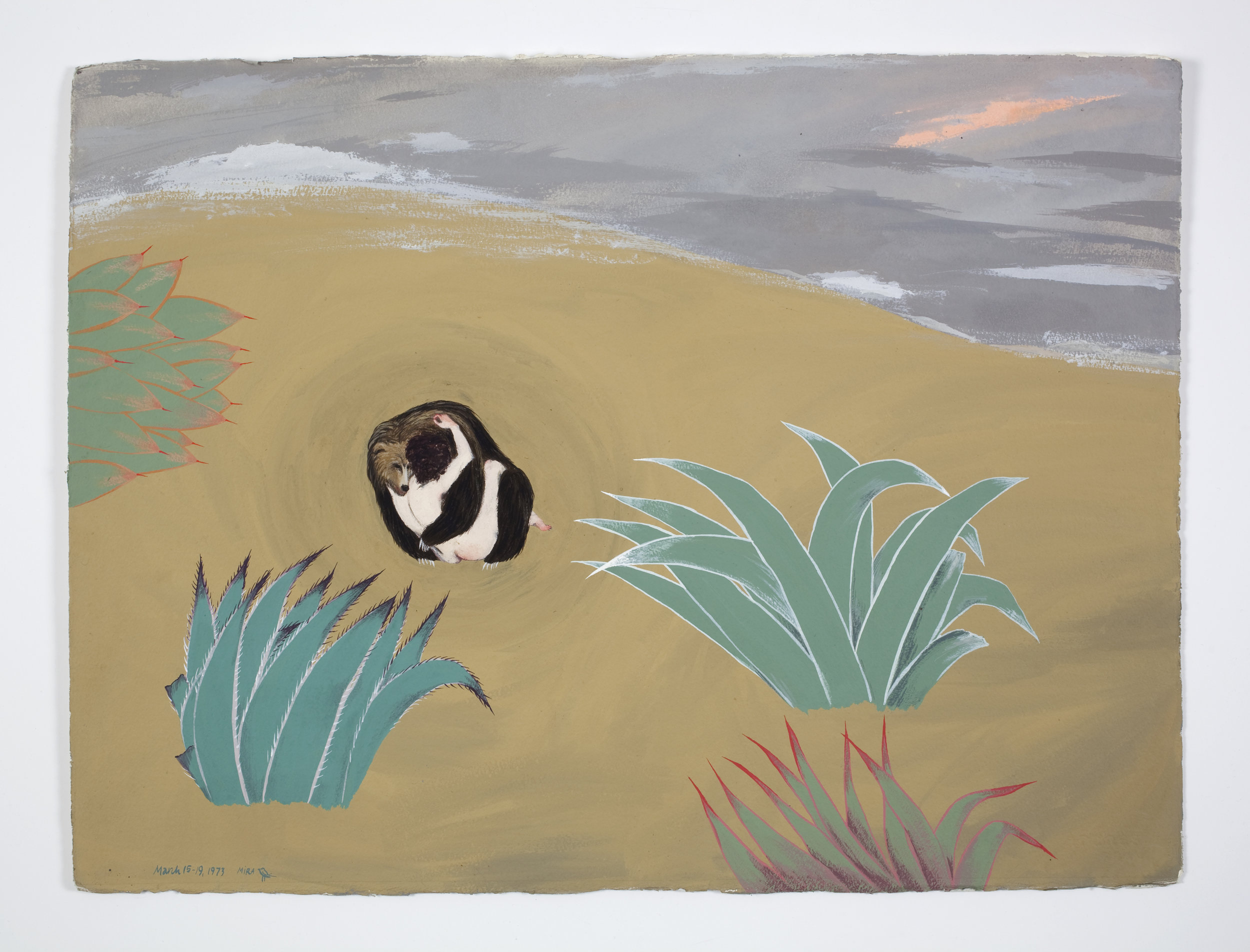 Mira Schor   Bear Triptych (Part III),  March 1973  Gouache on Arches paper  22 x 30 inches