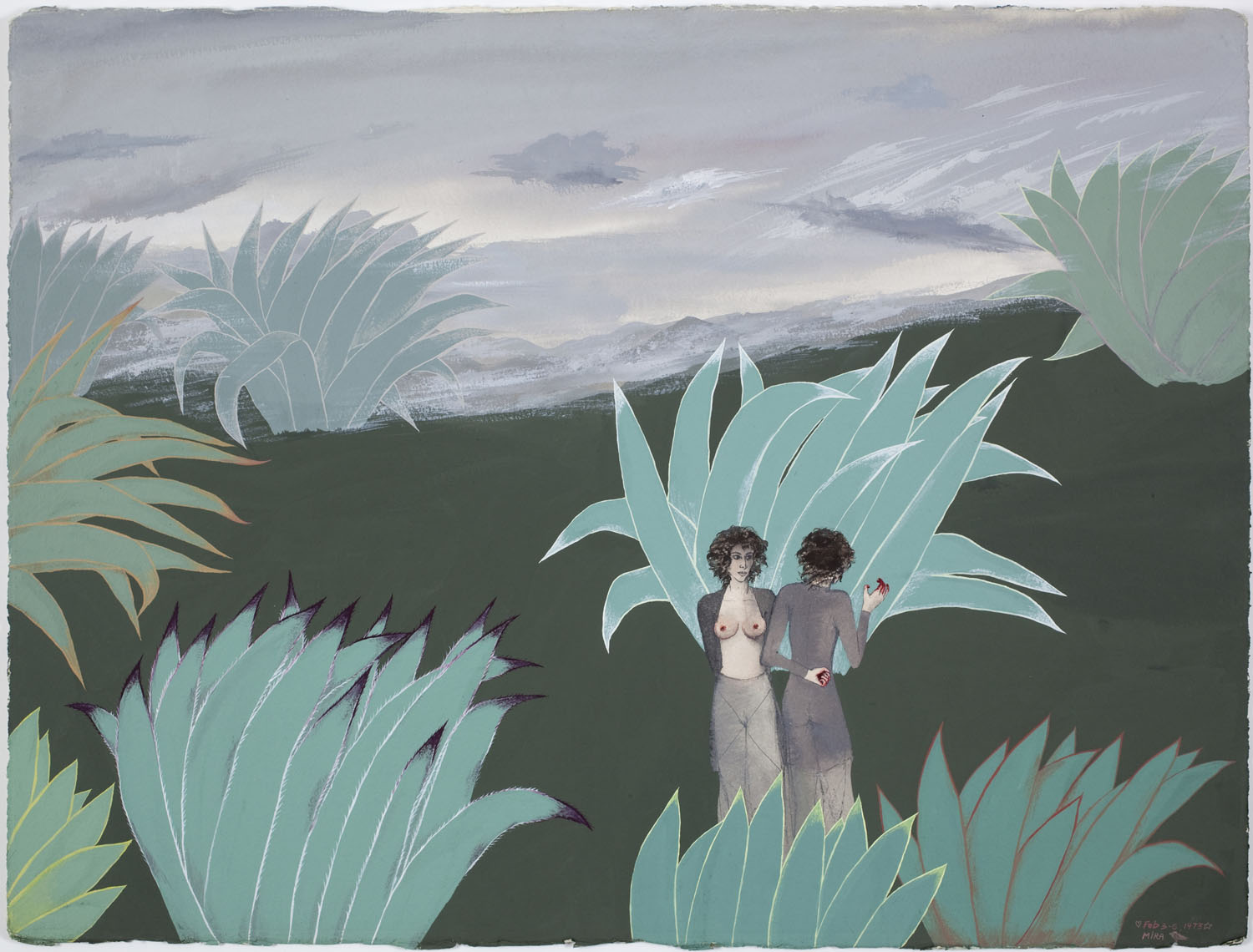 Mira Schor   The Two Miras , February 3-6, 1973  Gouache on Arches paper  22 x 30 inches