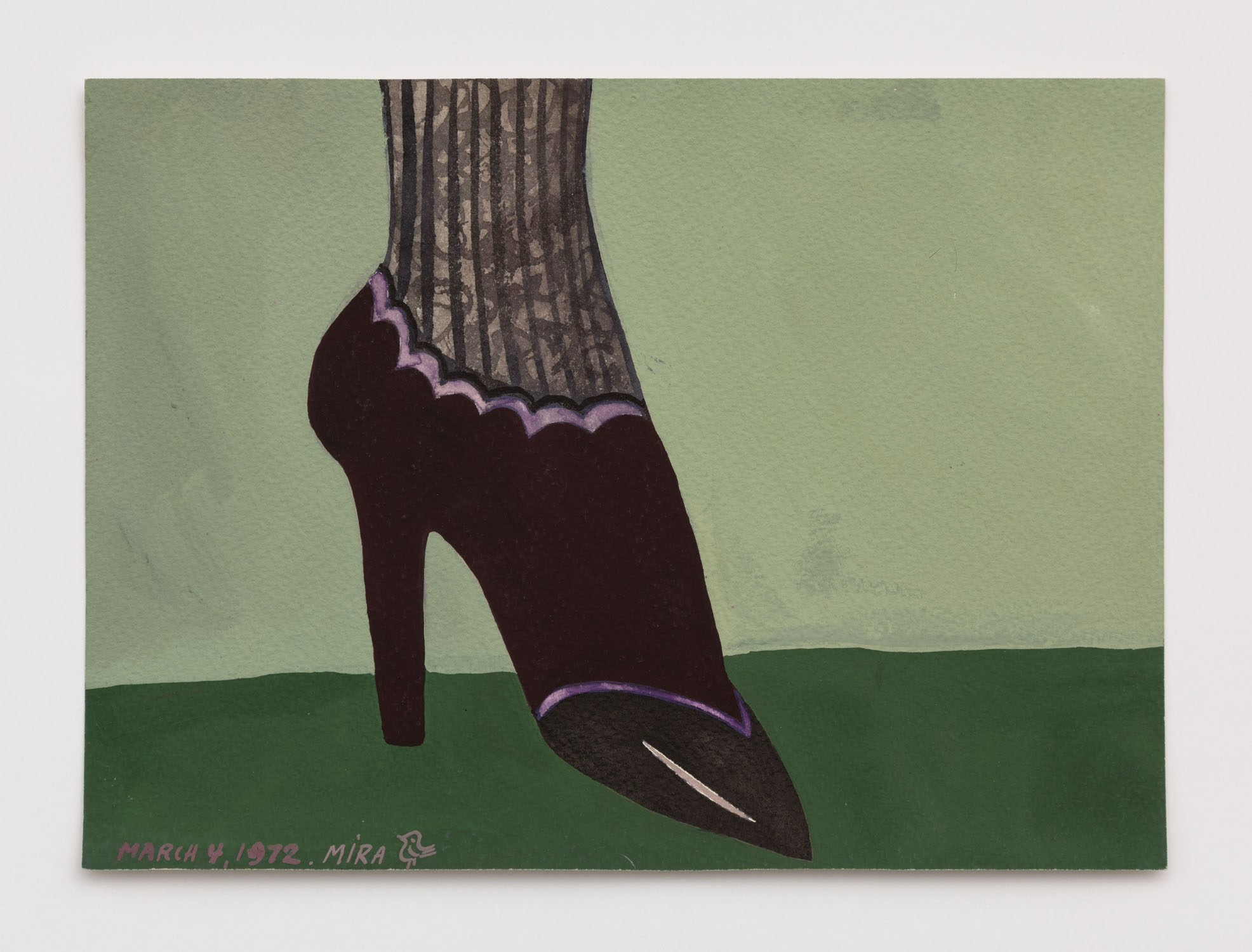 Mira Schor   Shoe , March 4, 1972  Gouache on paper  7 x 9.5 inches