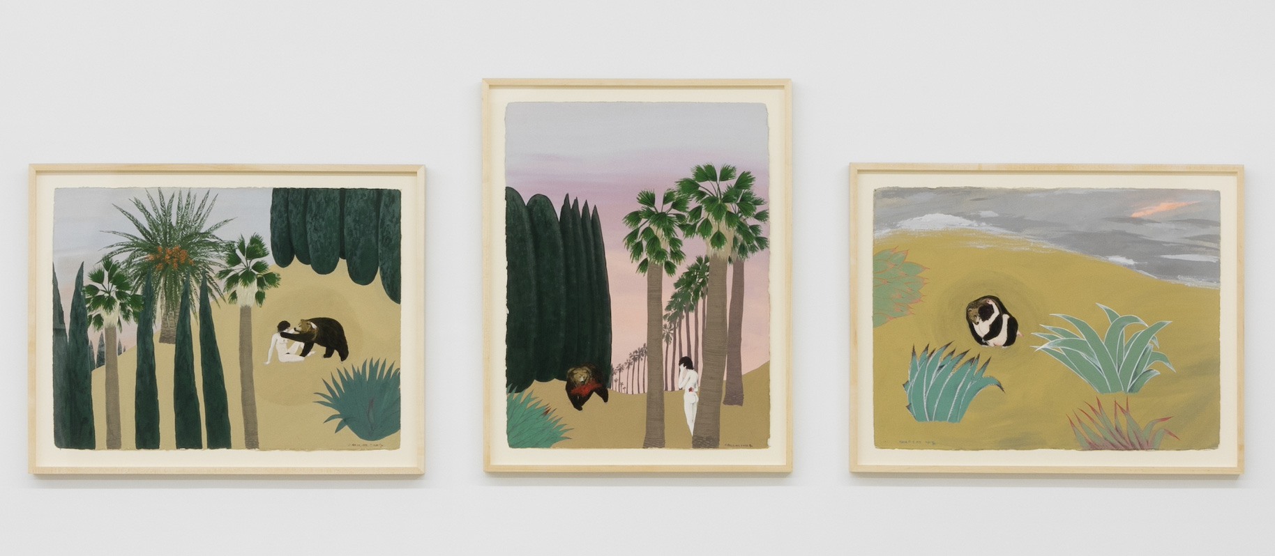 Mira Schor   Bear Triptych,  1972-1973  Gouache on Arches paper  Each: 22 x 30 inches