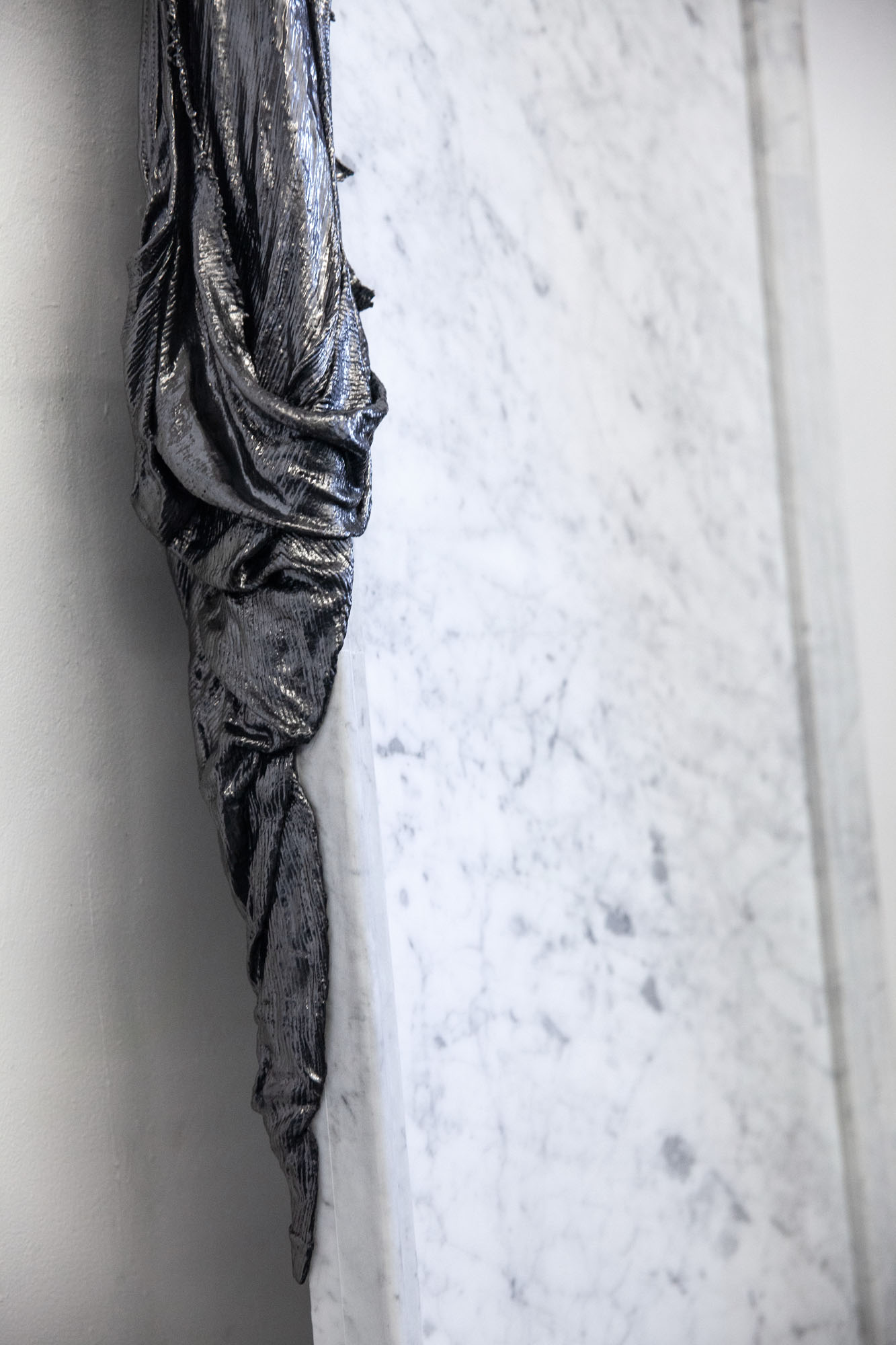 Lauren Seiden  Mirroring The Unseen  (detail), 2019 Marble, graphite pencil, cotton, and mixed mediums 72 x 24 x 4 inches (182.88 x 60.96 x 10.16 cm)