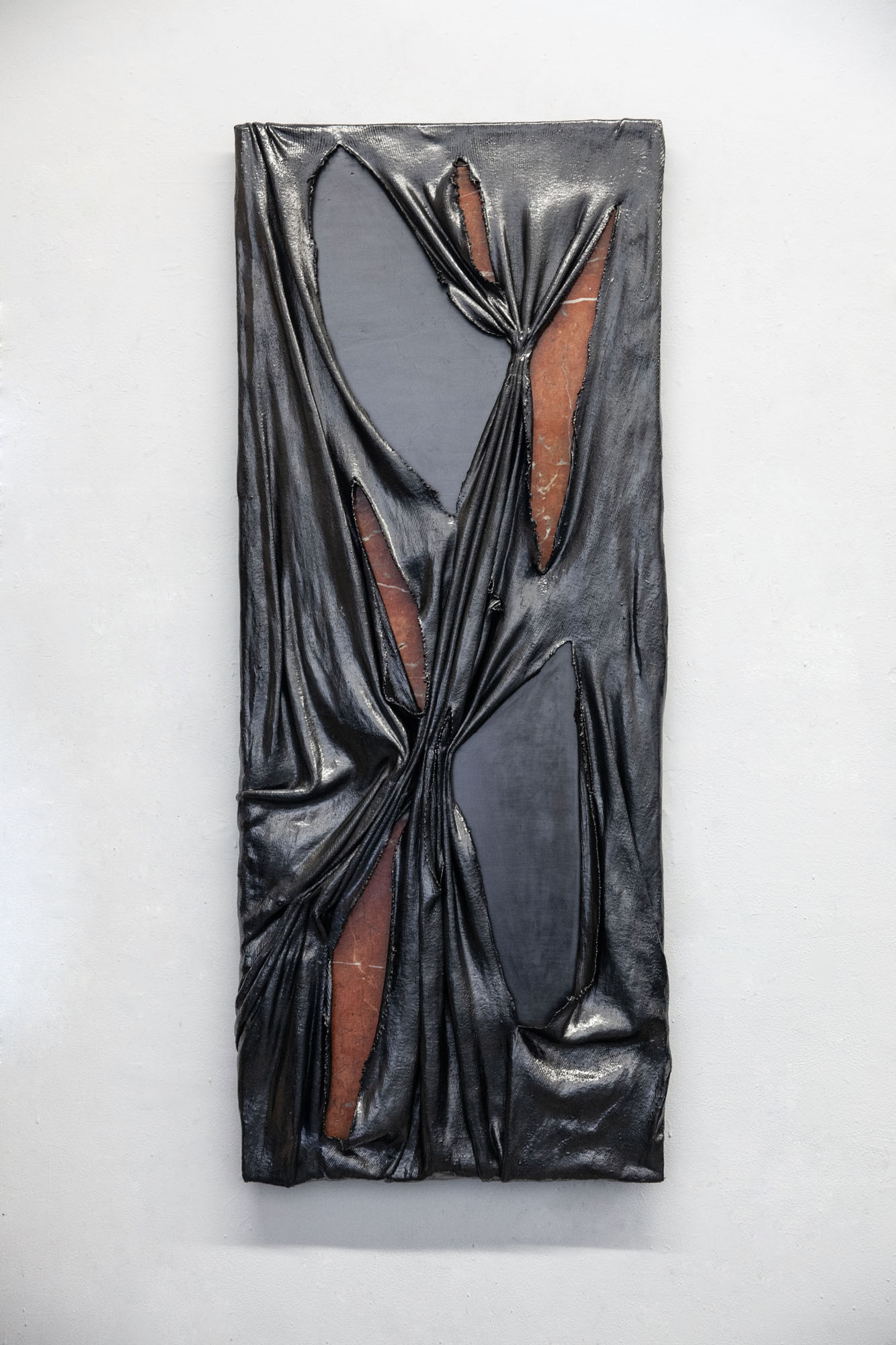 Lauren Seiden  Torn Curtain , 2019 Marble, graphite pencil, fabric, and mixed mediums 48 x 20 inches (121.92 x 50.8 cm)