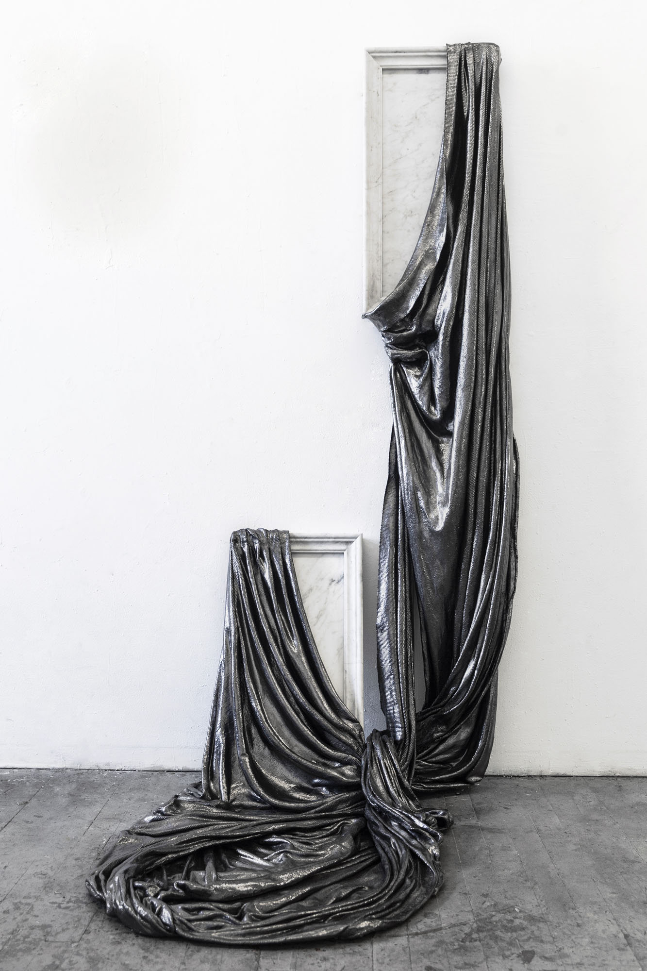 Lauren Seiden  Shields of Armor, I Turn and Burn , 2019 Marble, graphite pencil, fabric and mixed mediums Dimensions variable: 68 x 38 x 14.5 x 33 inches (172.72 x 96.52 x 39.37 x 83.82 cm)