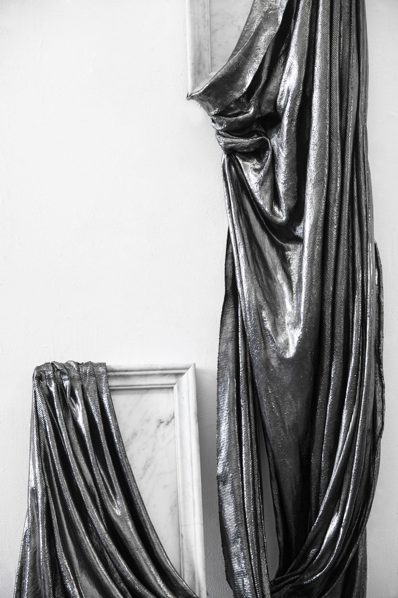 Lauren Seiden  Shields of Armor, I Turn and Burn  (detail), 2019 Marble, graphite pencil, fabric and mixed mediums Dimensions variable: 68 x 38 x 14.5 x 33 inches (172.72 x 96.52 x 39.37 x 83.82 cm)