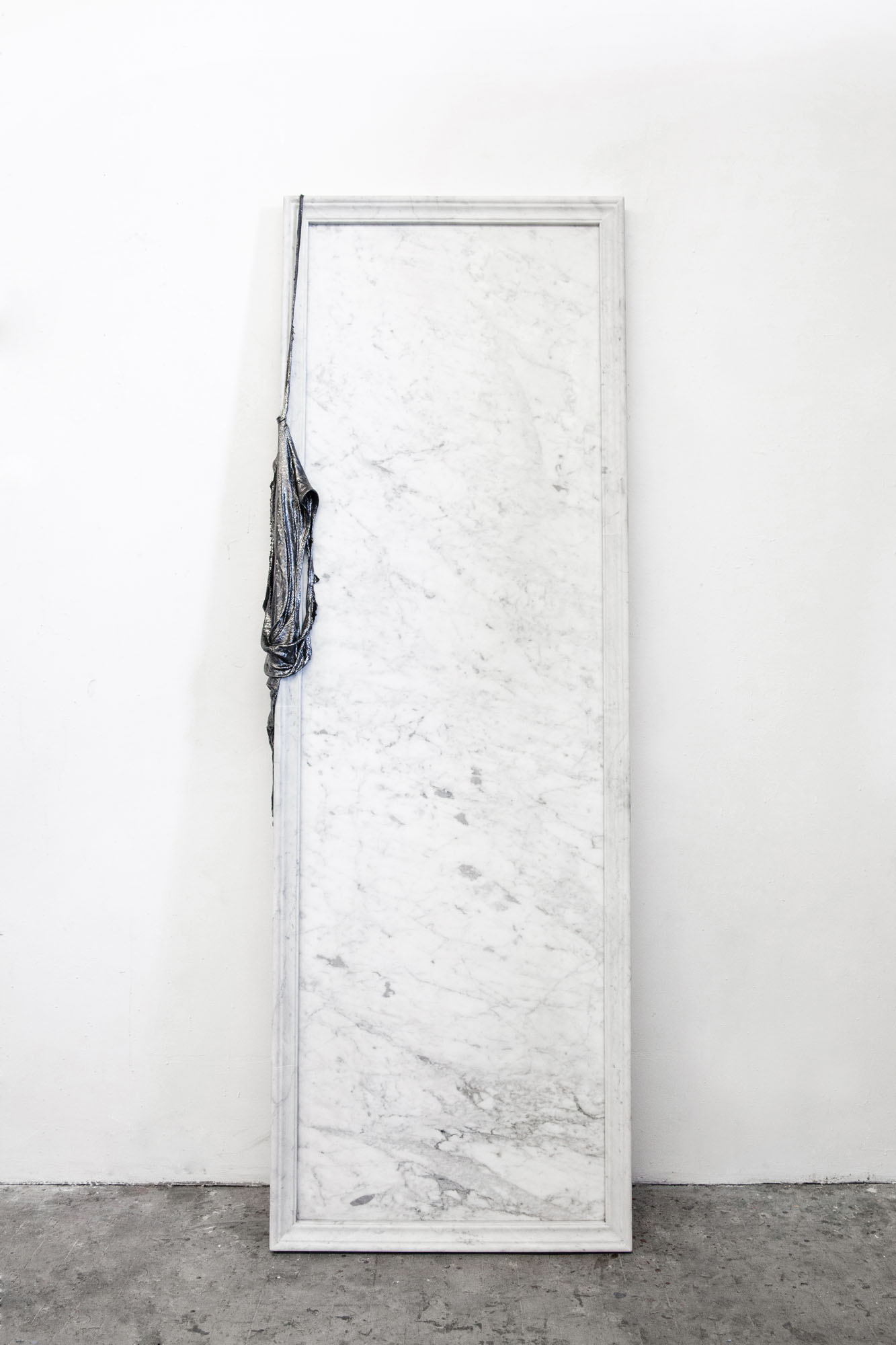 Lauren Seiden  Mirroring The Unseen , 2019 Marble, graphite pencil, cotton, and mixed mediums 72 x 24 x 4 inches (182.88 x 60.96 x 10.16 cm)