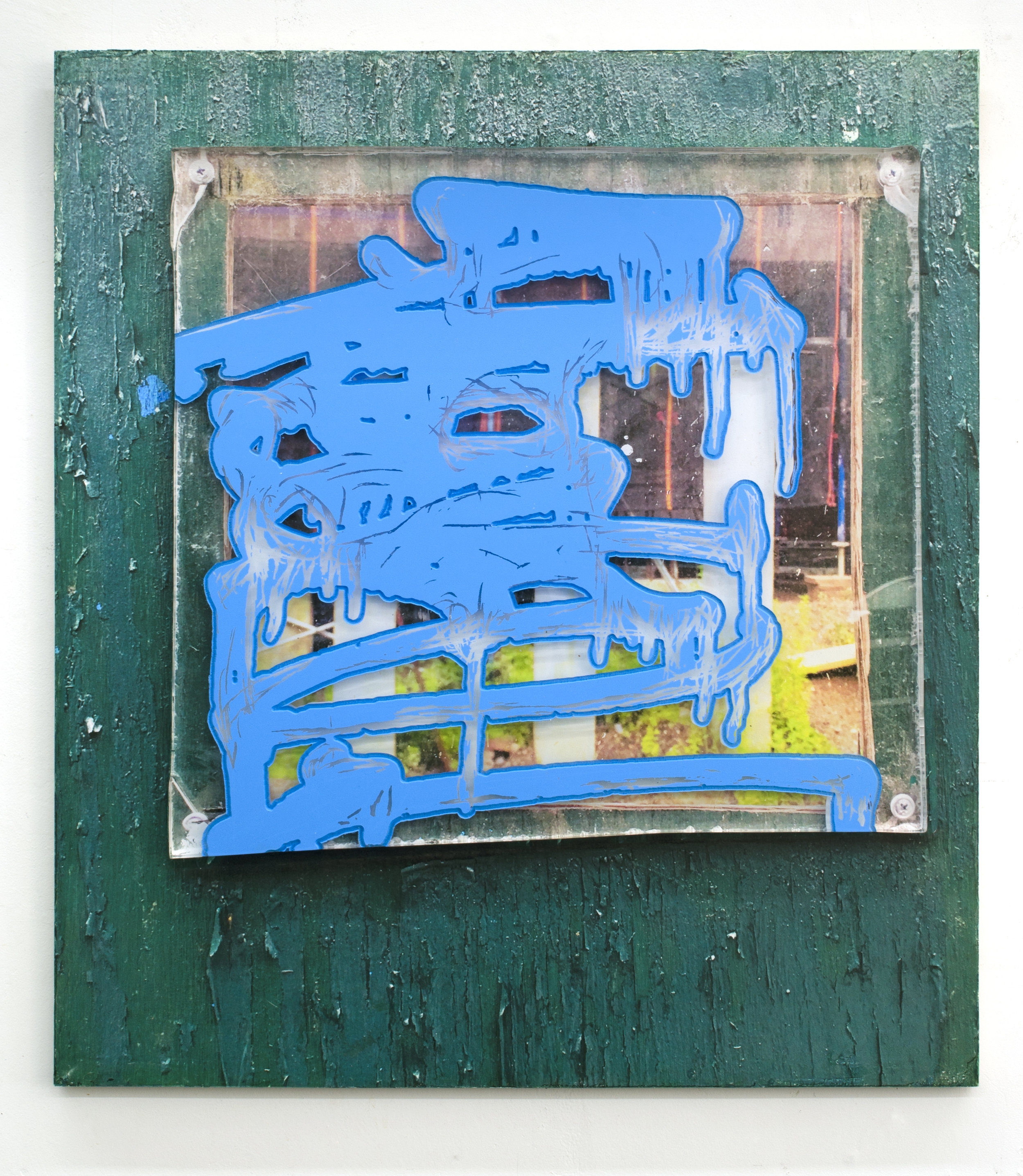 Ethan Greenbaum  Shading , 2019 Acrylic, pigment transfer on acrylic and carved birch 32 x 24 inches (81.28 x 60.96 cm)