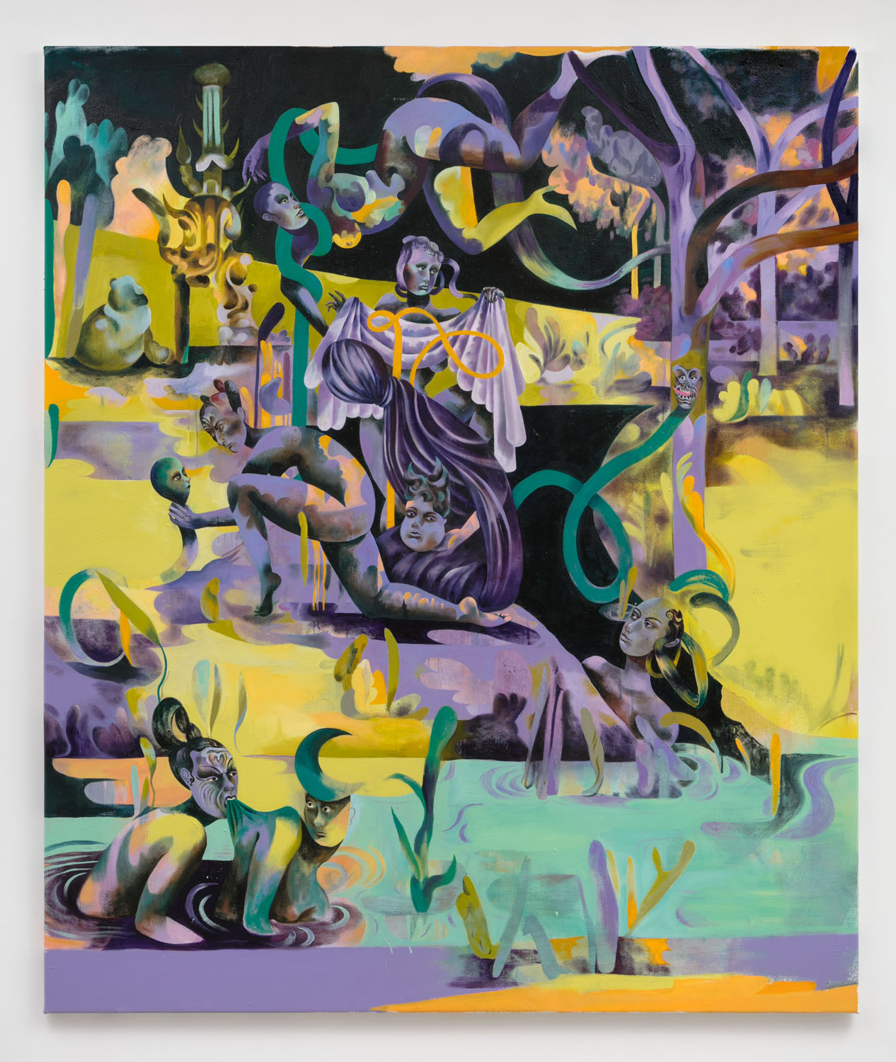 """Jessie Makinson    Hunter's Tryst , 2018  Oil on canvas  74.75"""" × 63 inches (190 × 160 cm)"""
