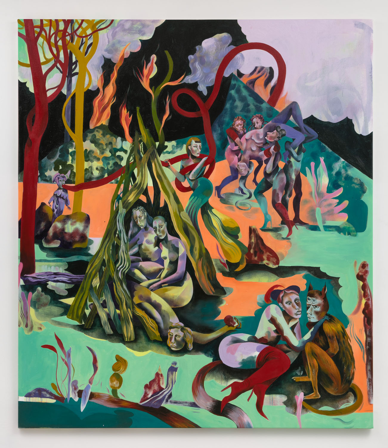 Jessie Makinson    The Chief Leaf , 2018  Oil on canvas  74.75 × 65 inches (190 × 165 cm)