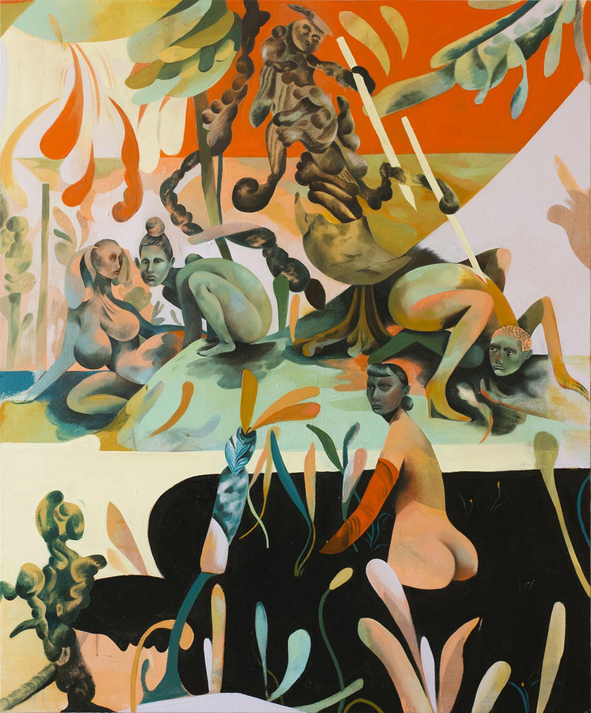 Jessie Makinson    Cult of the Tomato Sphinx , 2018  Oil on canvas  47.25 × 39.125 inches (120 × 99.5 cm)