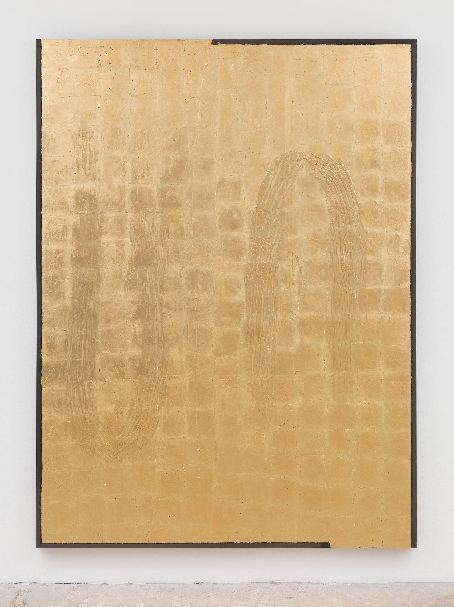 Gilded (Flipped Visions) , 2019 Acrylic medium on fabric, gold leaf, poplar 94 x 70 x 2.5 inches