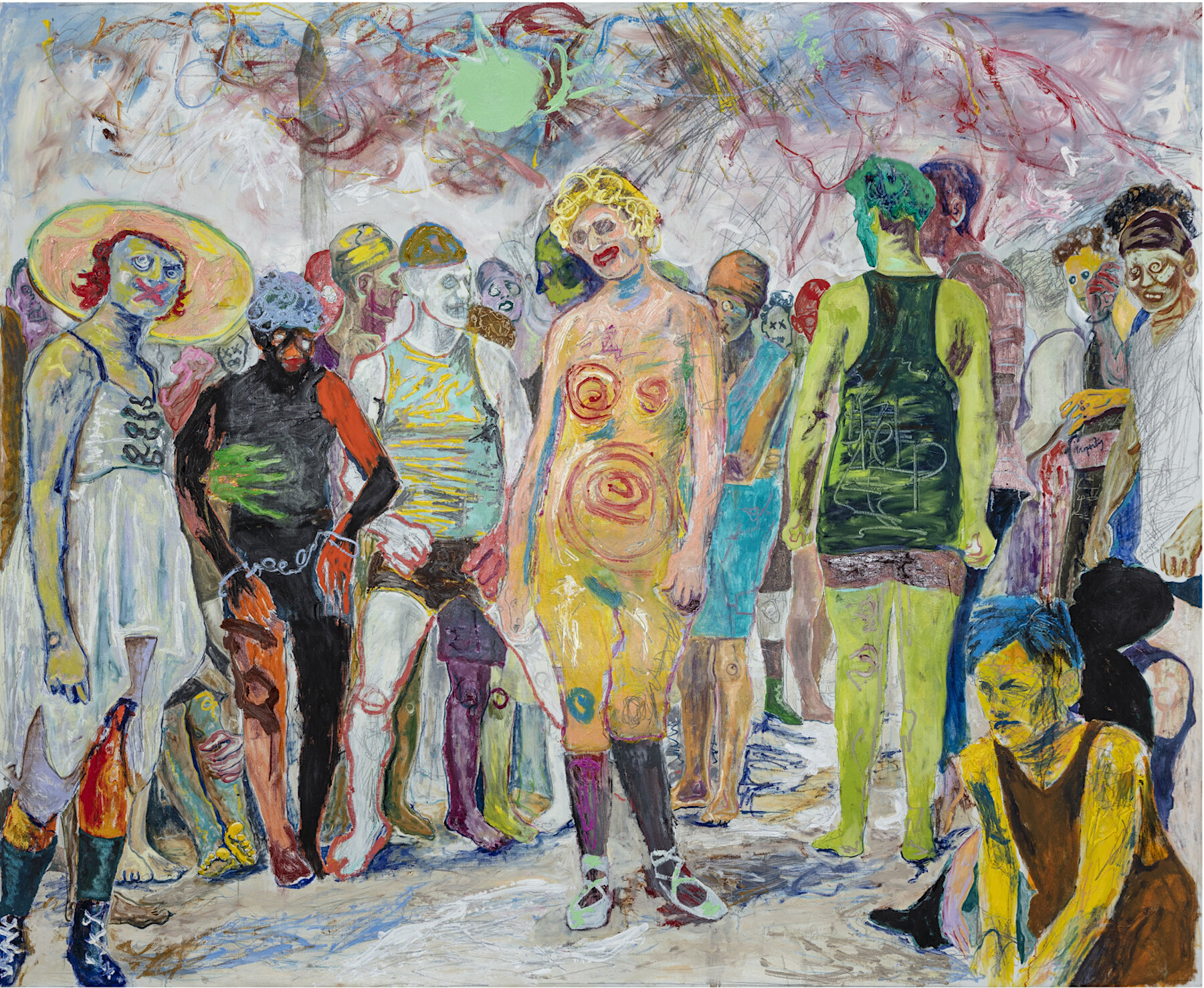 Farley Aguilar   The Beach , 2018  Oil, oil stick, and graphite on linen  76 x 92.5 inches