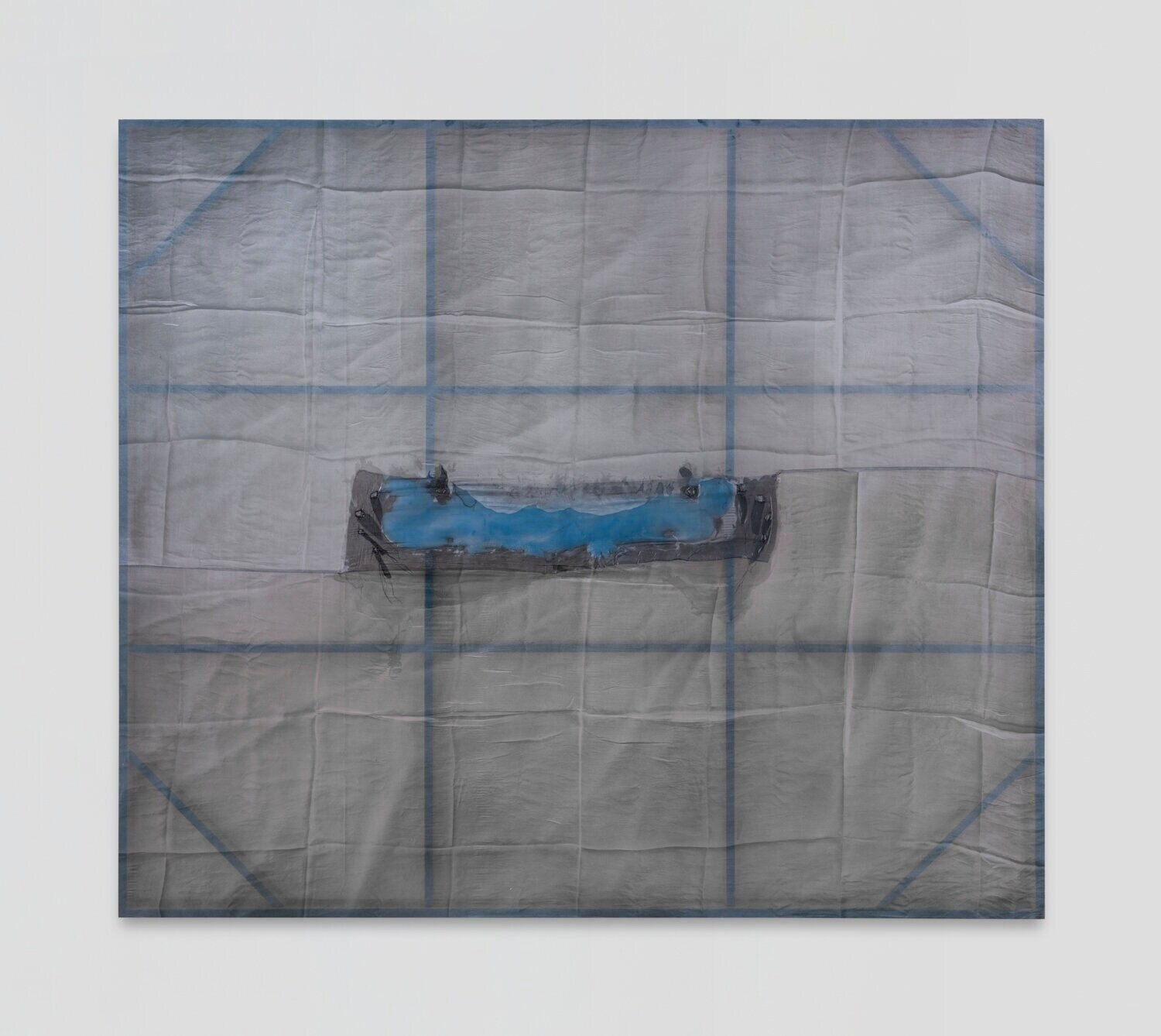 Test Site (Let the Breath Breathe Itself) , 2019  Acrylic on silk, pigmented silicon, poplar  72 x 83 x 2.5 inches