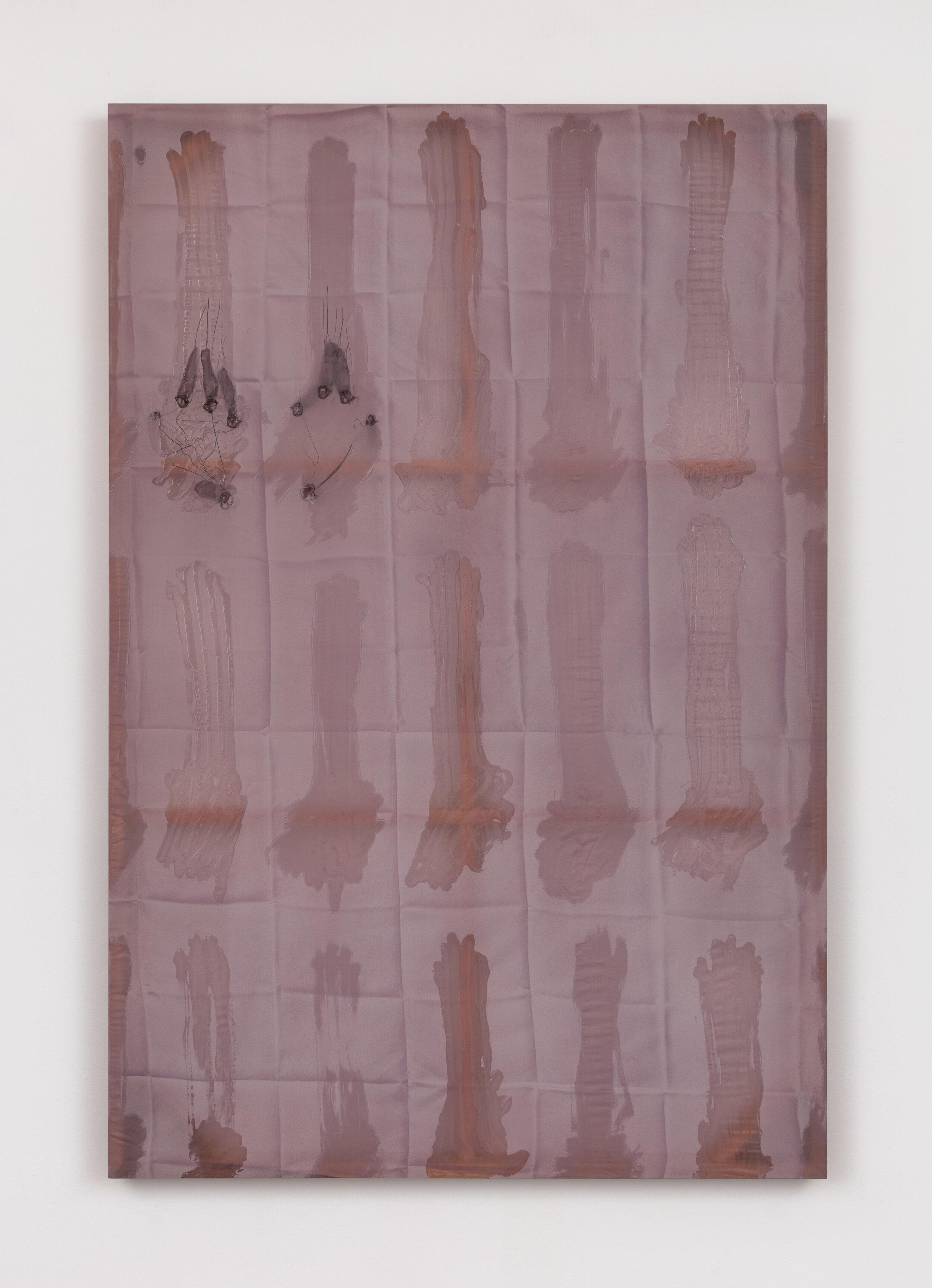 Test Site (Pressure Points) , 2019  Acrylic on silk, poplar  60 x 40 x 2.5 inches