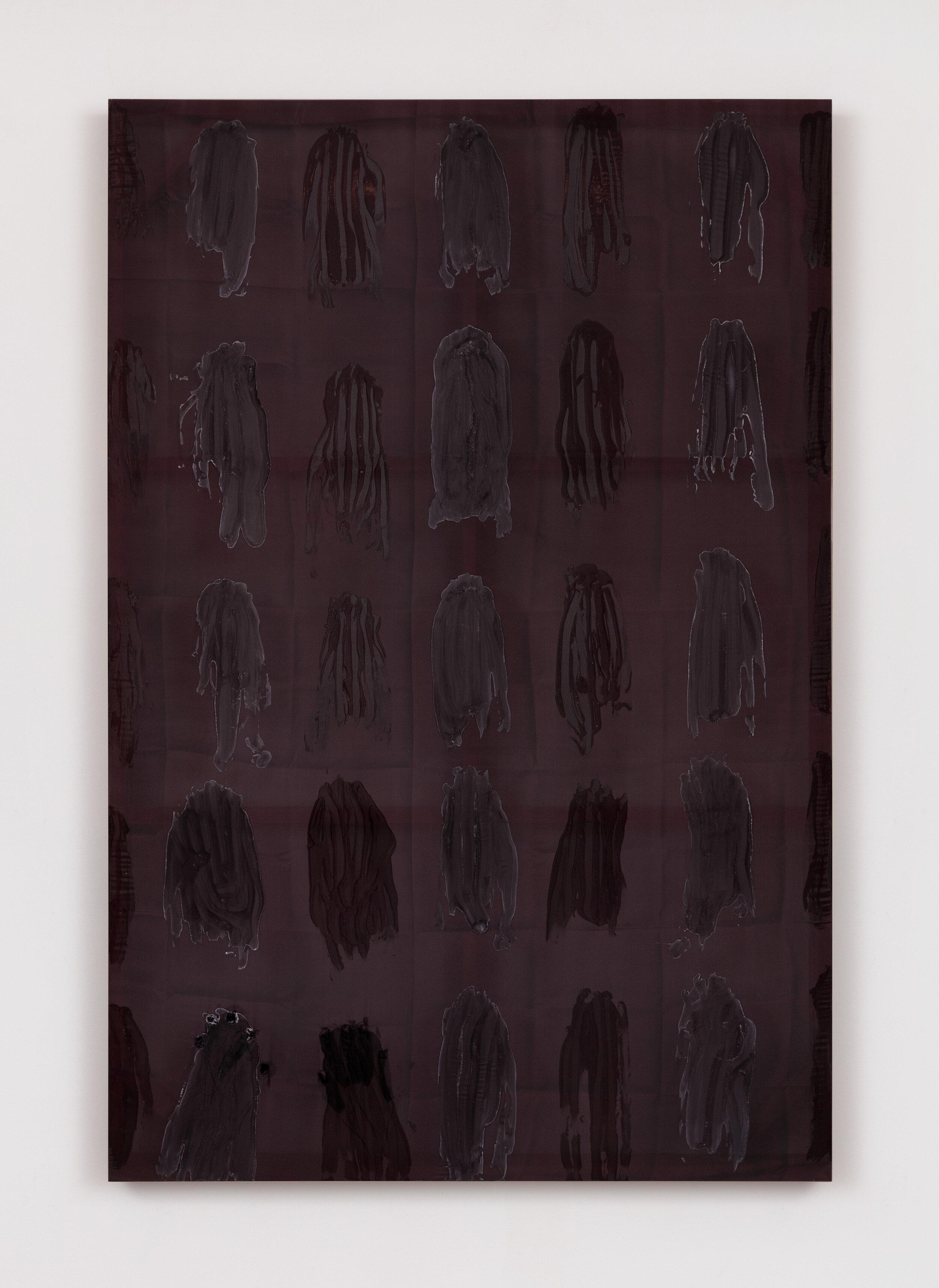 Test Site (Navel Gaze) , 2019  Acrylic on silk, poplar  60 x 40 x 2.5 inches
