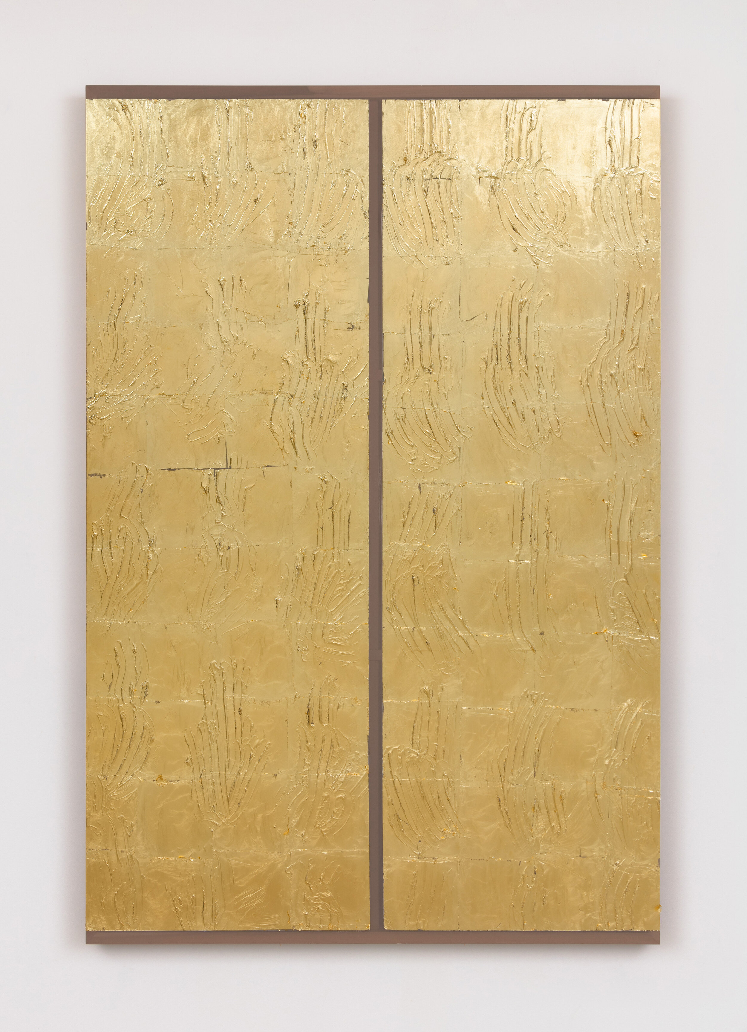 Gilded (Dividing Time) , 2019 Acrylic and gold leaf on fabric, poplar 60 x 40 x 2.5 inches