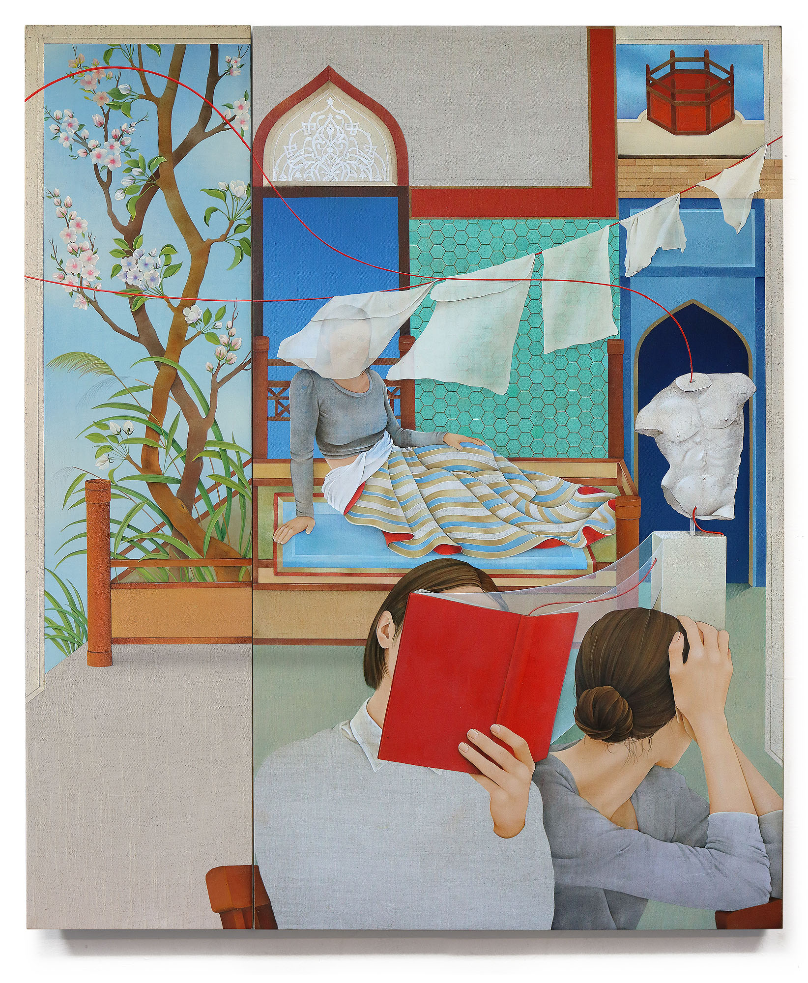 Arghavan Khosravi    Heaven Is A Place , 2018  Acrylic on linen canvas on wood panels  Two panels: 41.5× 34.5 inches