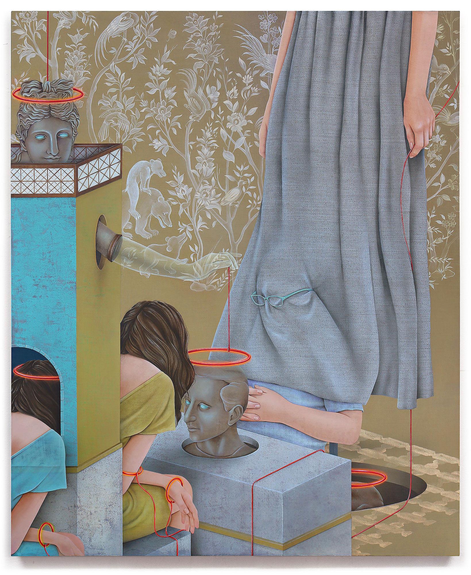 Arghavan Khosravi    Ascension , 2018  Acrylic on herringbone linen canvas mounted on wood panel  39.5 x 32.5  inches