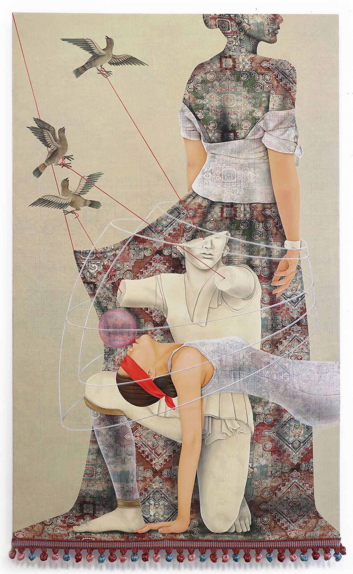 Arghavan Khosravi    You're Free to Fly , 2019  Acrylic on found textile mounted on wood panel   50 x 32 inches