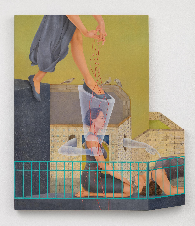 Arghavan Khosravi    The Bubble , 2019  Acrylic on cotton canvas mounted on shaped wood panel  48 x 42 inches
