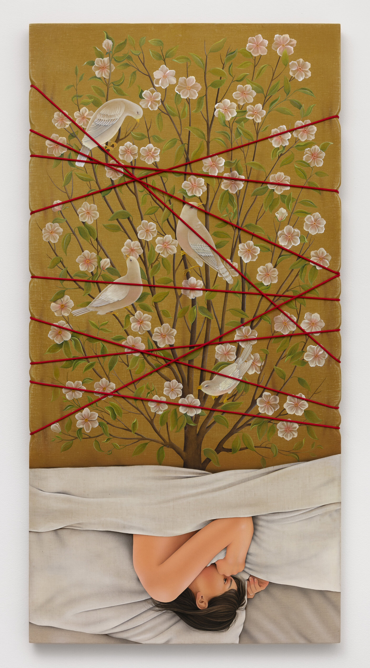 Arghavan Khosravi    Sweet Dreams! (With Eyes Wide Open) , 2019  Acrylic and rope on panel  47 x 23 3/4 inches