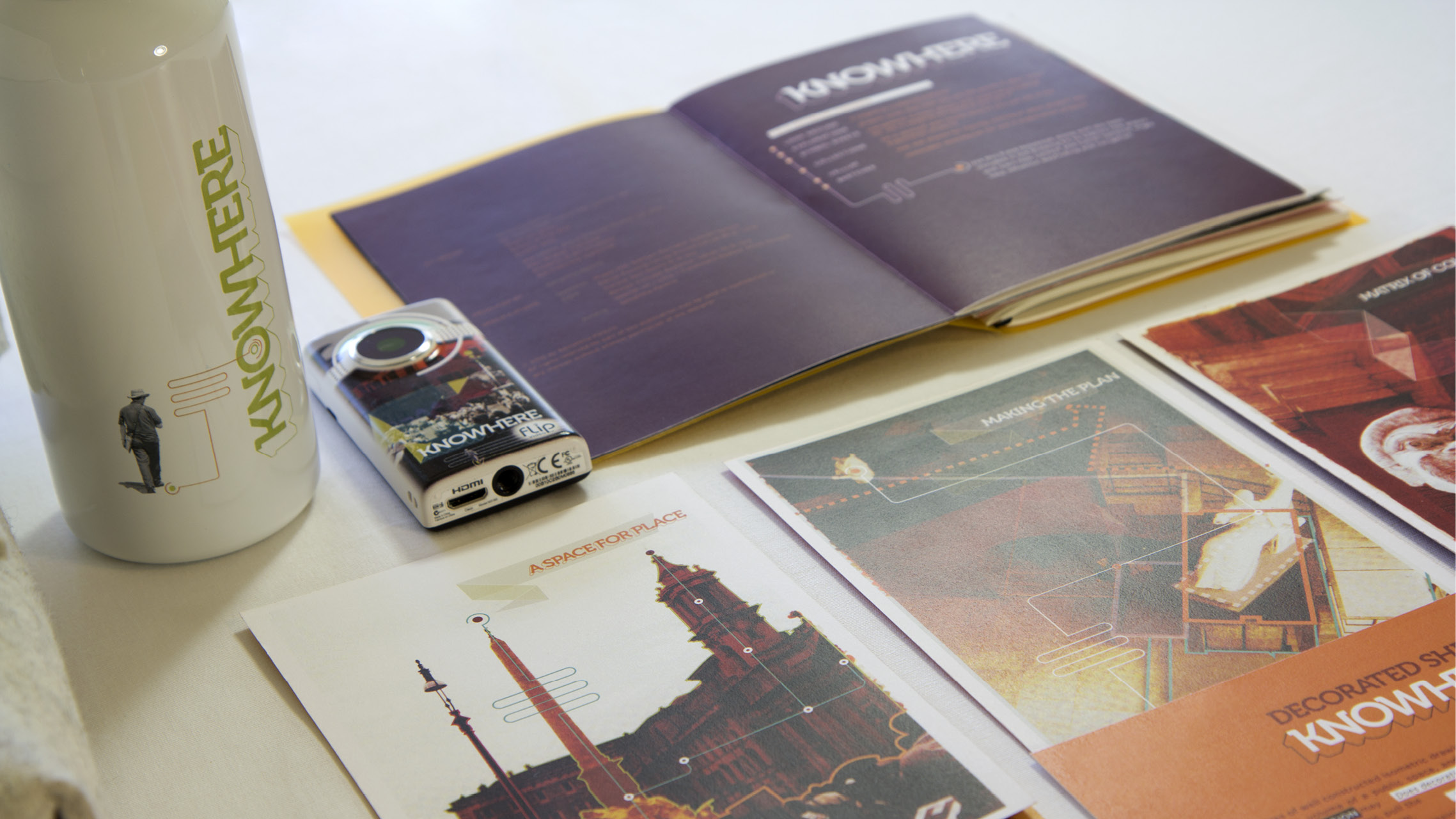 details of roadkit components—cards, field book, camera, and water bottle