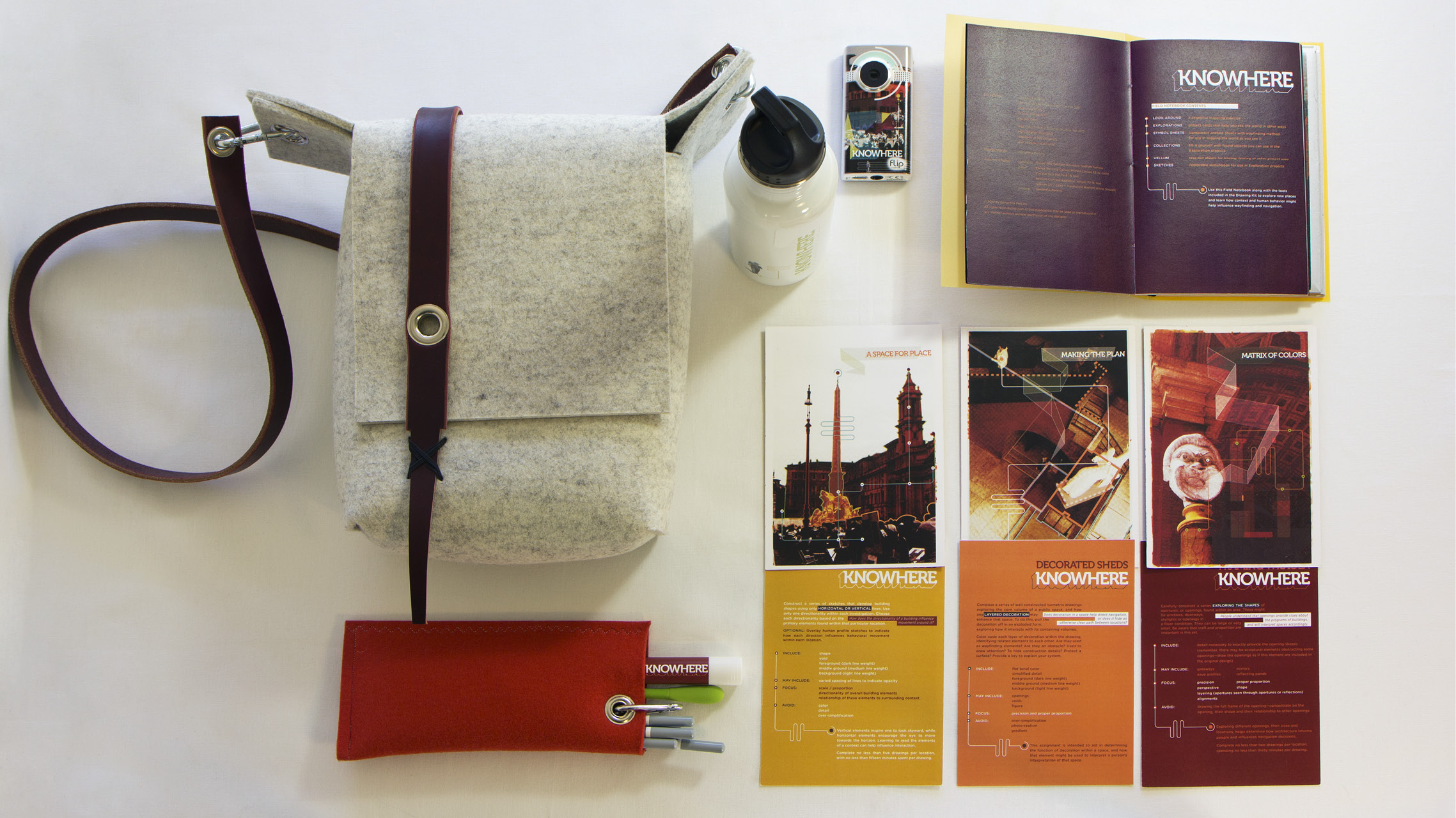 the full roadkit—handmade bag, pencil holder (with custom gluestick and TSA-approved x-acto knife), exploration prompt cards, field book, camera, and water bottle