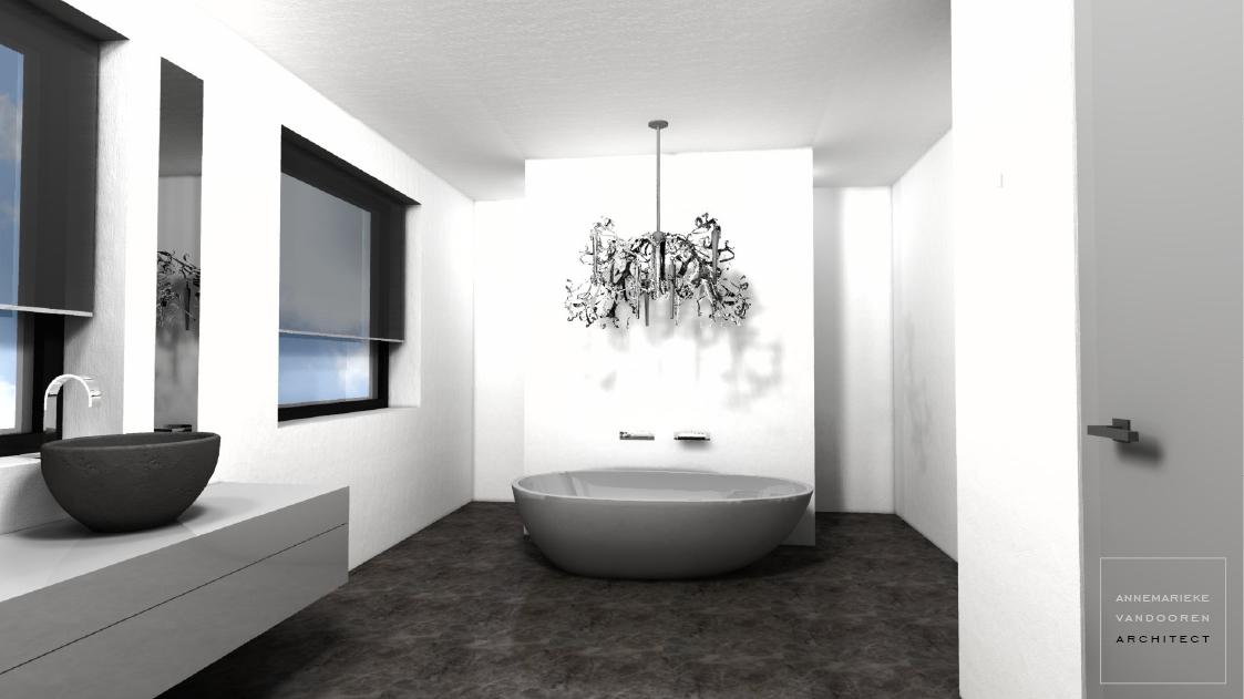 Modern ontwerp voor een badkamer in een nieuwbouw woning / villa met strak gestucte wanden, gietvloer, inloopdouche, inlooptoilet, vrijstaand bad, en dubbele wastafel,   door Annemarieke van Dooren Architect