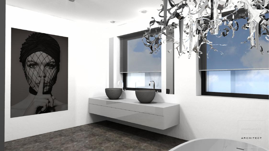 Modern ontwerp voor een badkamer in een nieuwbouw woning / villa met strak gestucte wanden, gietvloer, inloopdouche, inlooptoilet, vrijstaand bad, dubbele wastafel en kunst aan de muur, door Annemarieke van Dooren Architect
