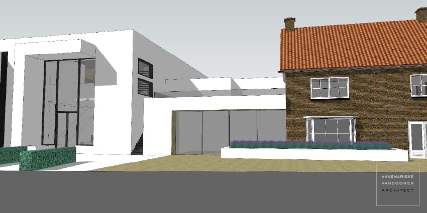 Modern ontwerp met gevelstucwerk, door Annemarieke van Dooren Architect te Vessem